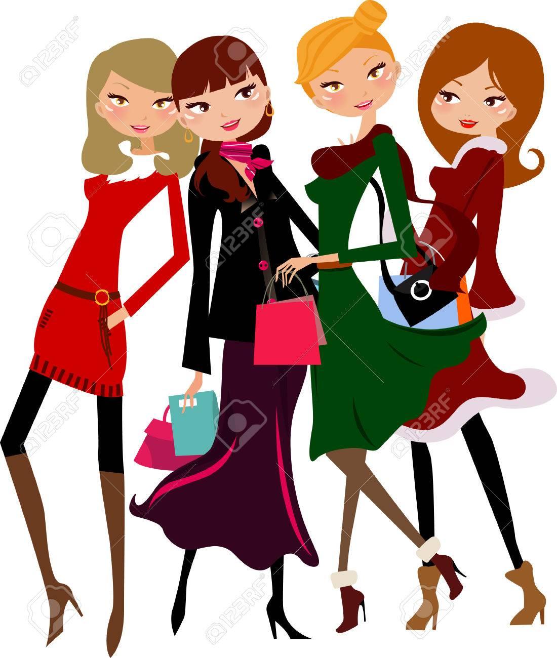 4 人のかわいい女の子のスタイリッシュなドレスのイラスト素材ベクタ