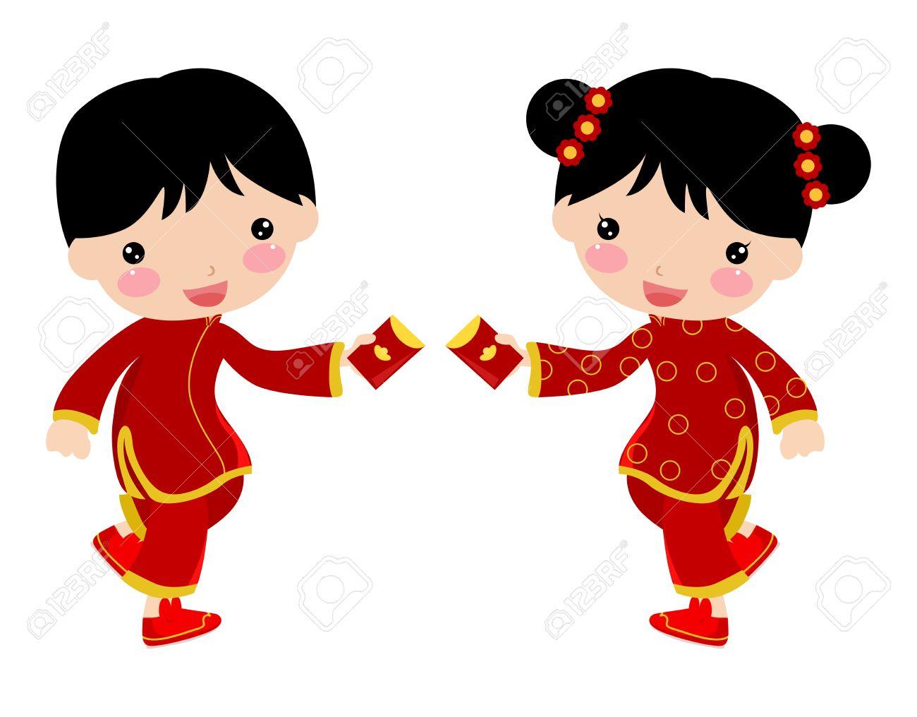 Chinesische Grüße Des Neuen Jahres - Jungen Und Mädchen Lizenzfrei ...