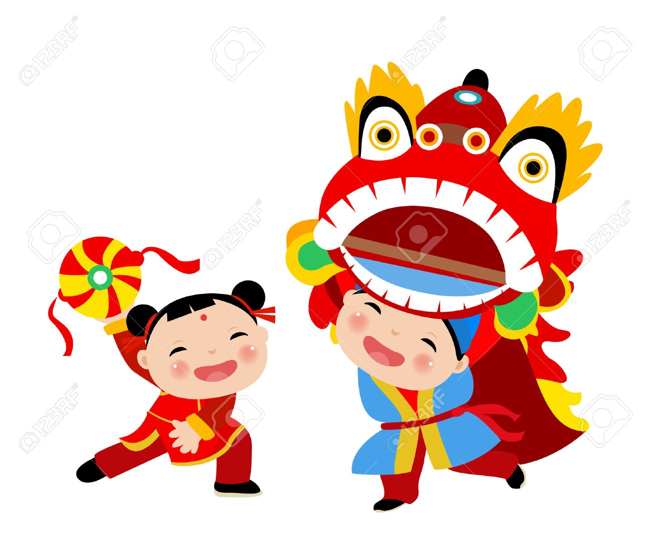 kids playing lion dance chinese new year stock vector 44506426 - Chinese New Year For Kids