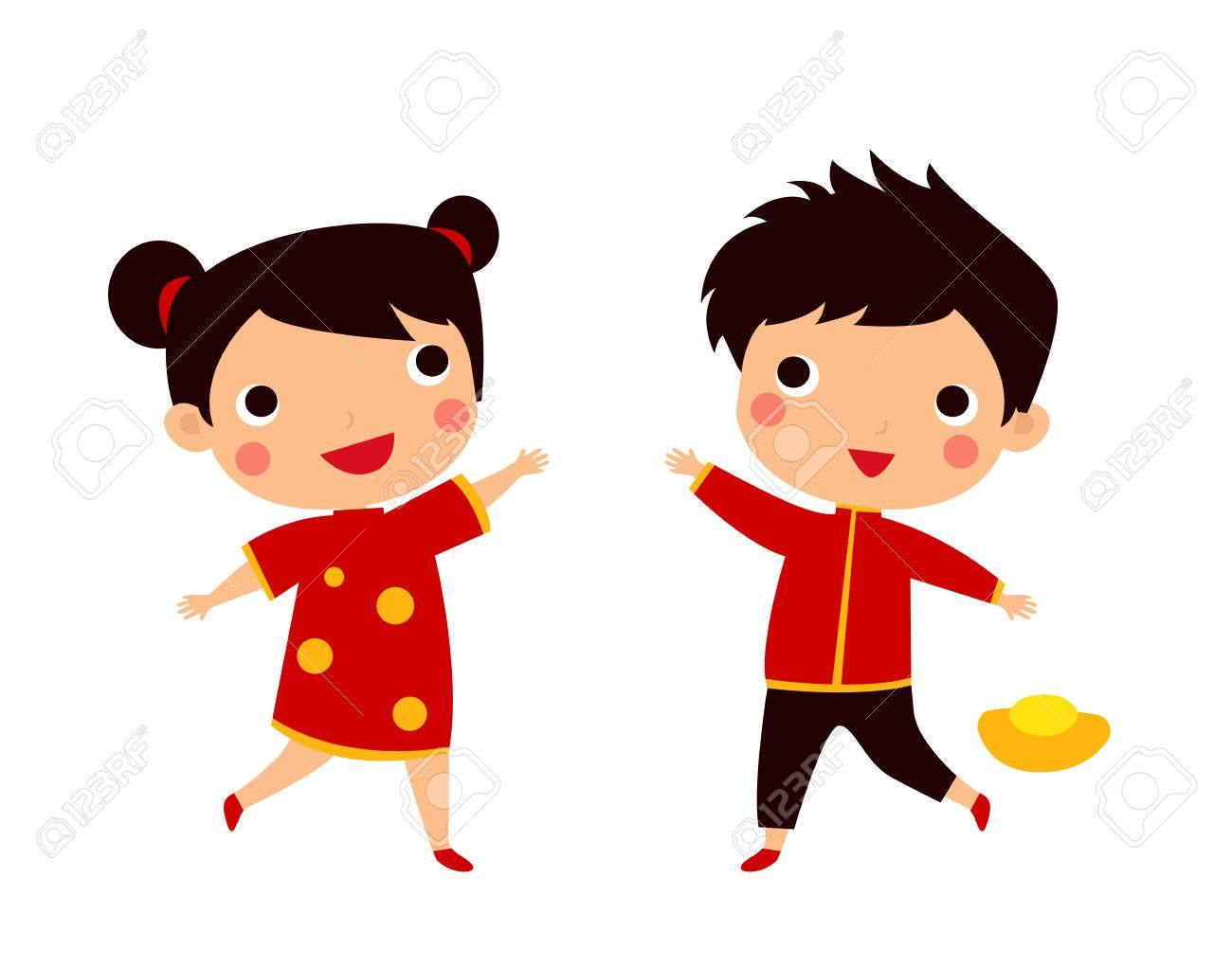chinese new year greetings children stock vector 48692951