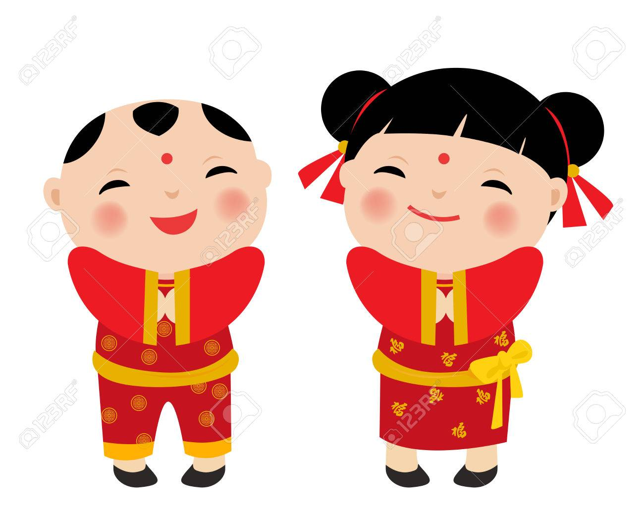 chinese new year greetings children stock vector 48690780