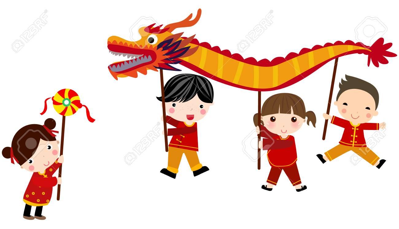 chinese new year festivaldragon dance stock vector 83205854