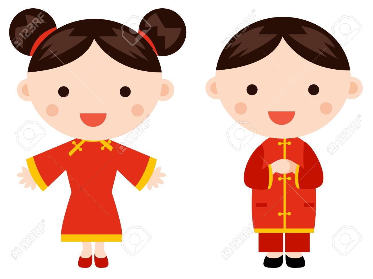 chinese new year greetings children stock vector 68528029