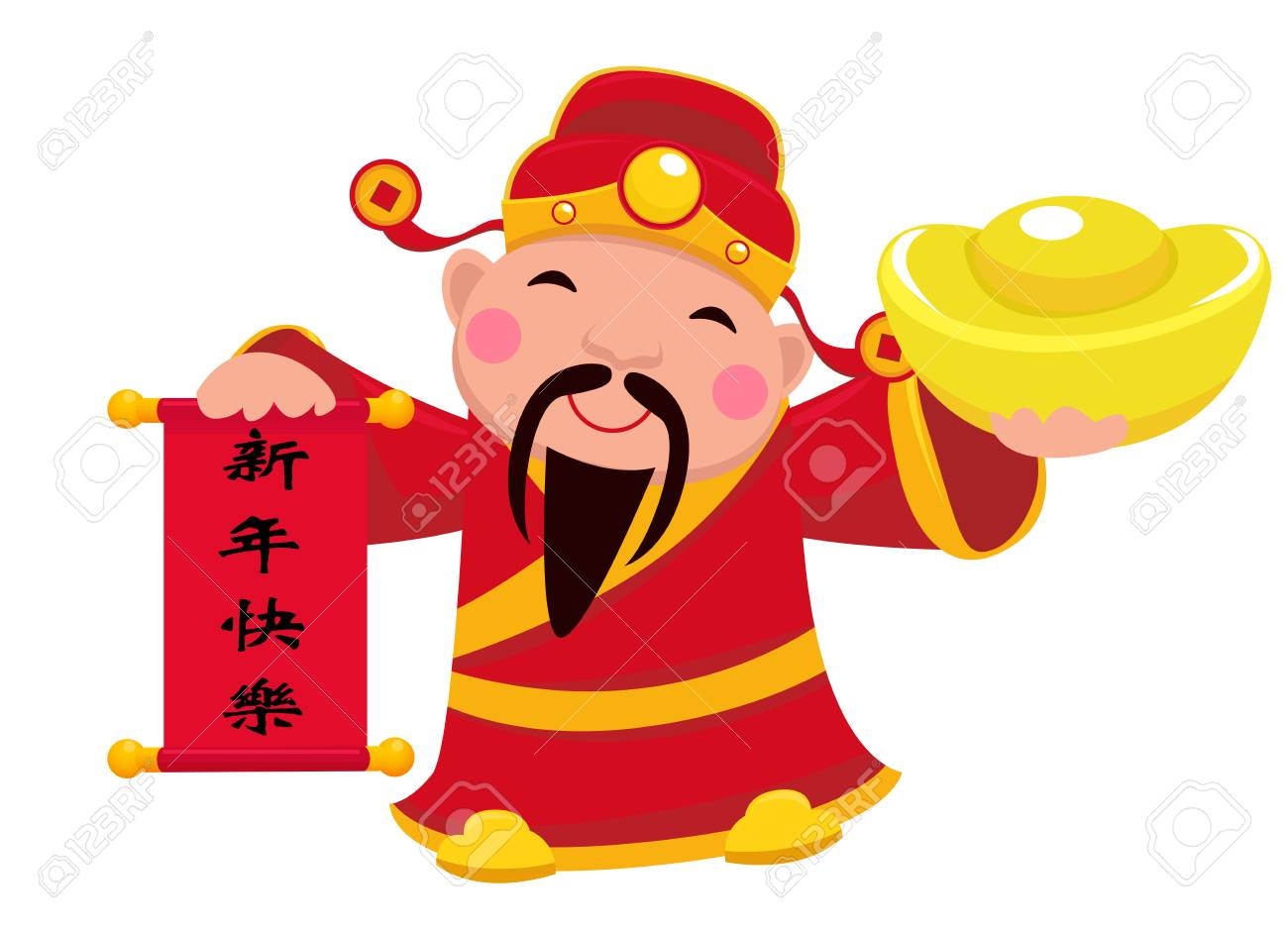 chinese new year design with god of wealth holding a banner chinese words happy