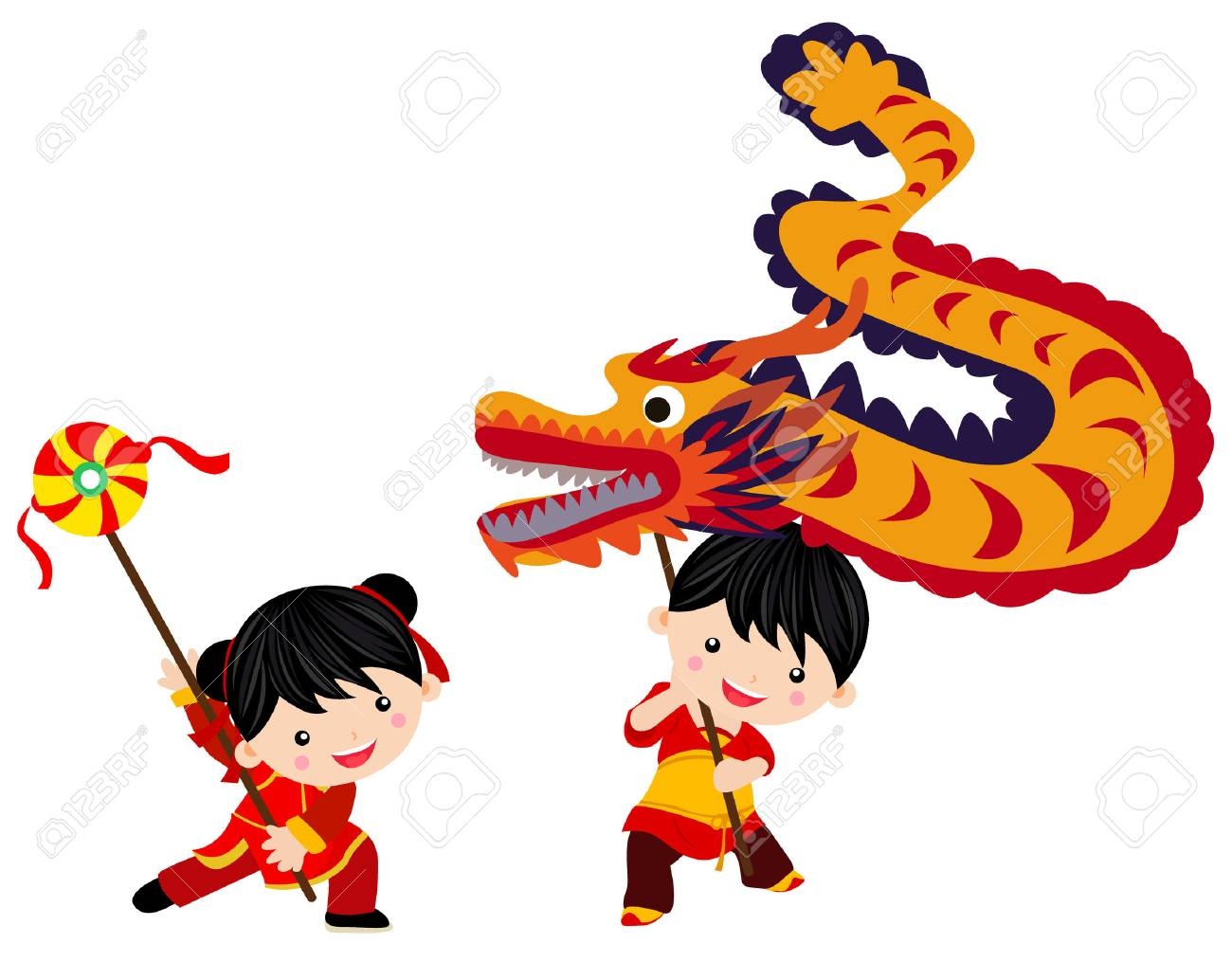 chinese new year festivaldragon dance stock vector 68528105