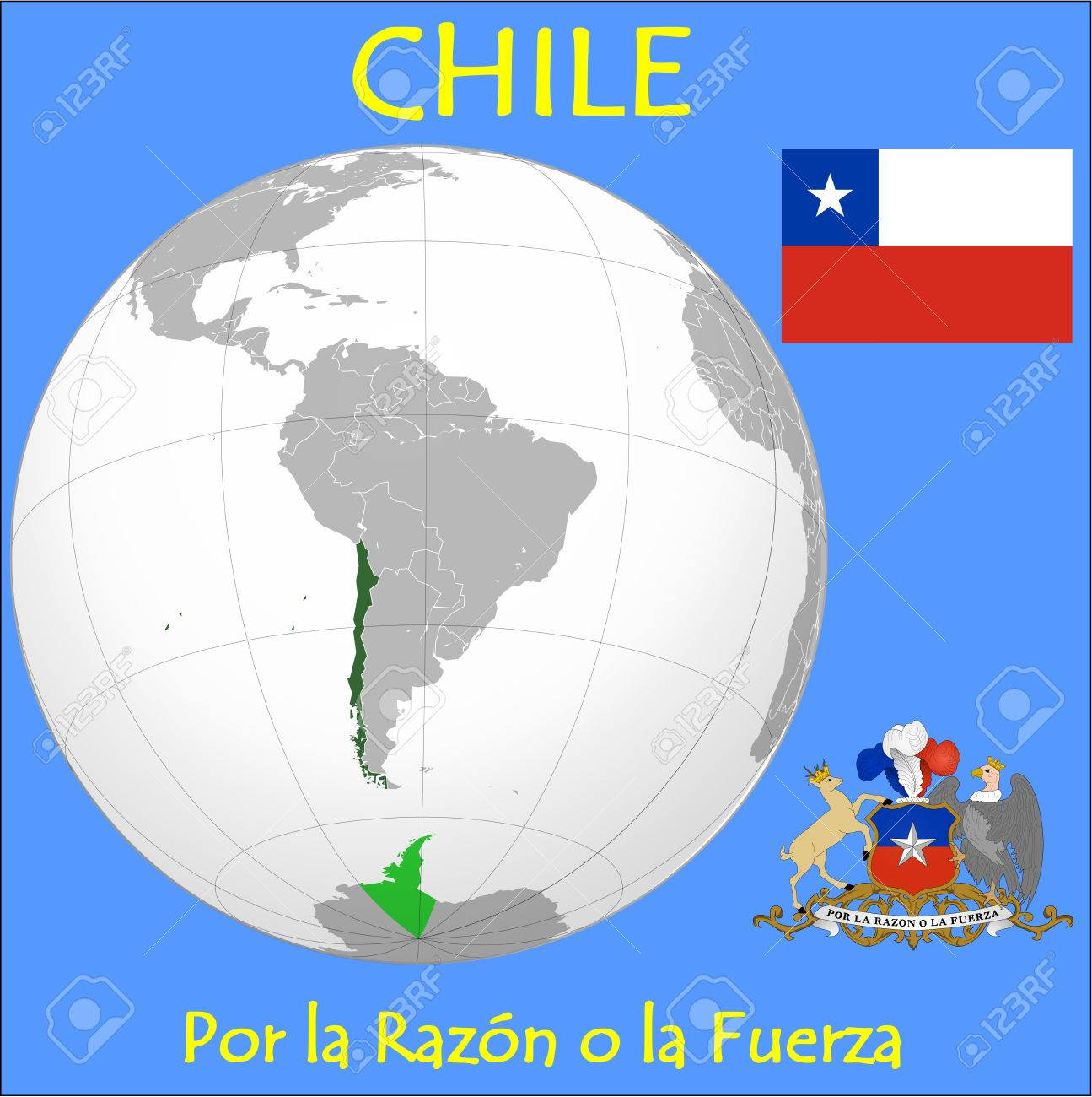 Chile Location Emblem Motto Royalty Free Cliparts Vectors And - Chile location