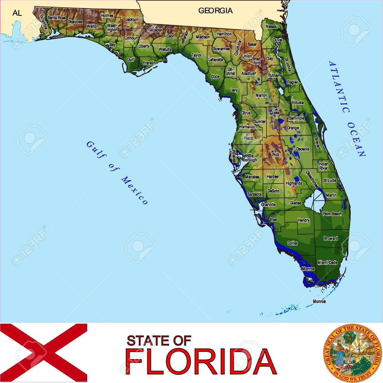 Florida Counties Map Royalty Free Cliparts Vectors And Stock - Florida map vector free