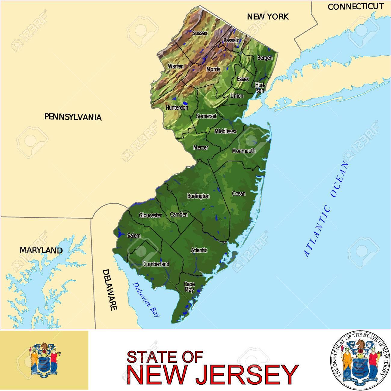 Mapa De Nueva Jersey País Ilustraciones Vectoriales Clip Art - Mapa de new jersey