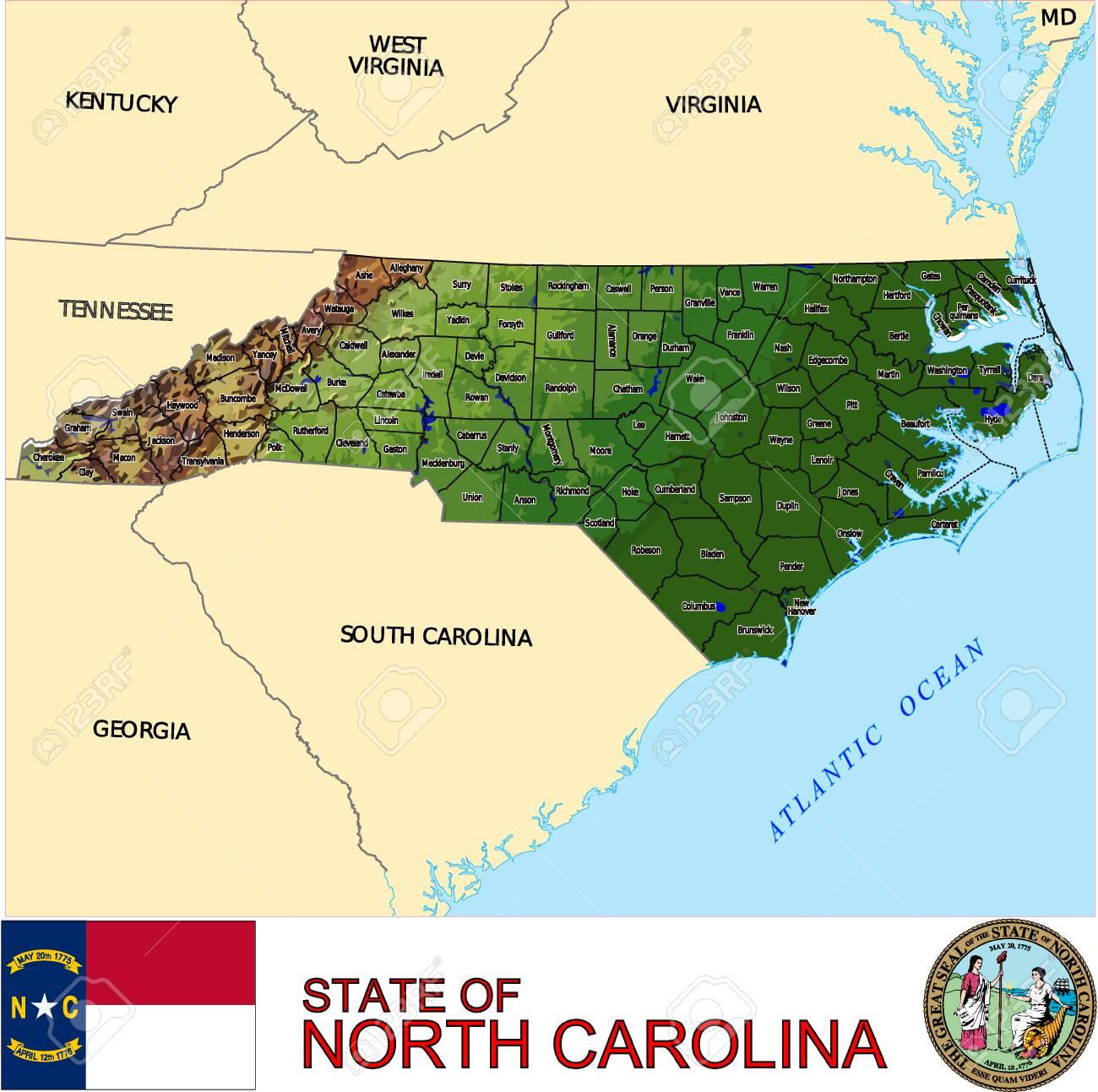 Carolina Del Norte Mapa.Mapa De Carolina Del Norte Pais