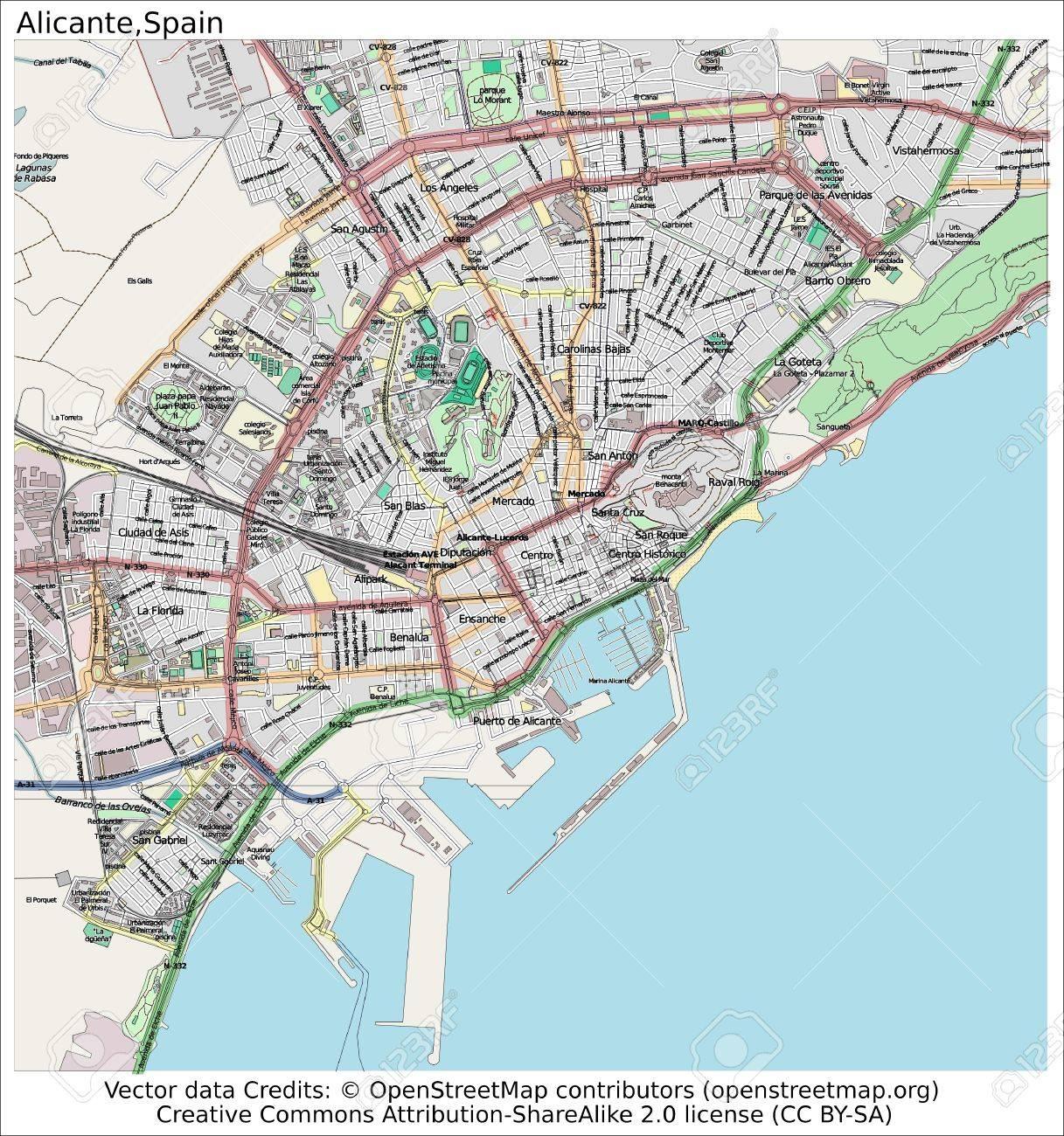 Cartina Alicante Spagna.Alicante Spagna Mappa Della Citta Vista Aerea