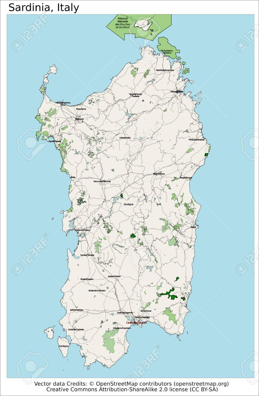 Map Of Italy And Islands.Sardinia Italy Island Map Aerial View