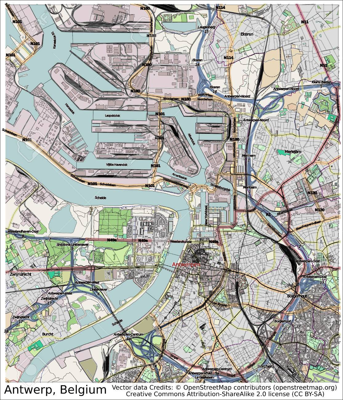 Antwerp Belgium City Map Aerial View Stock Photo Picture And