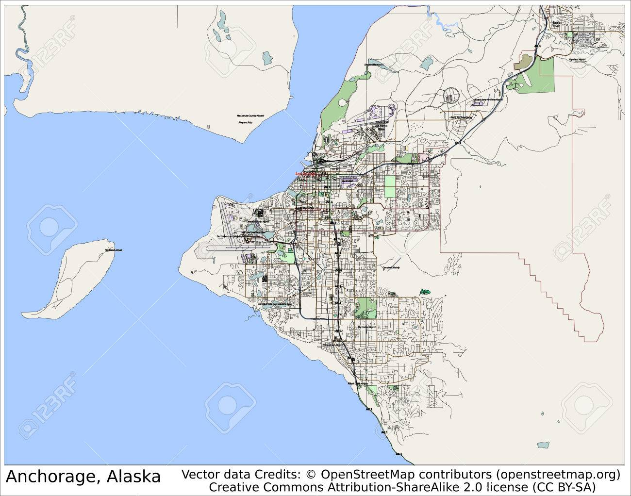 Anchorage Alaska USA City Map Aerial View Stock Photo Picture And - Alaska usa map