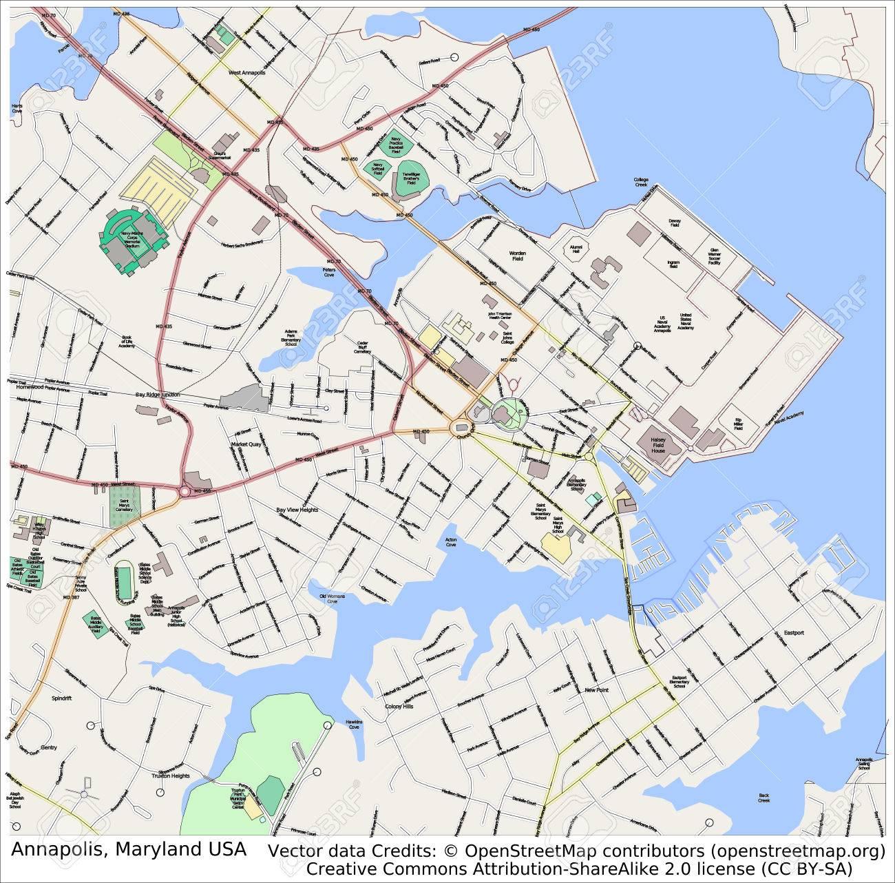 Annapolis Maryland Mapa De La Ciudad Vista Area Fotos Retratos