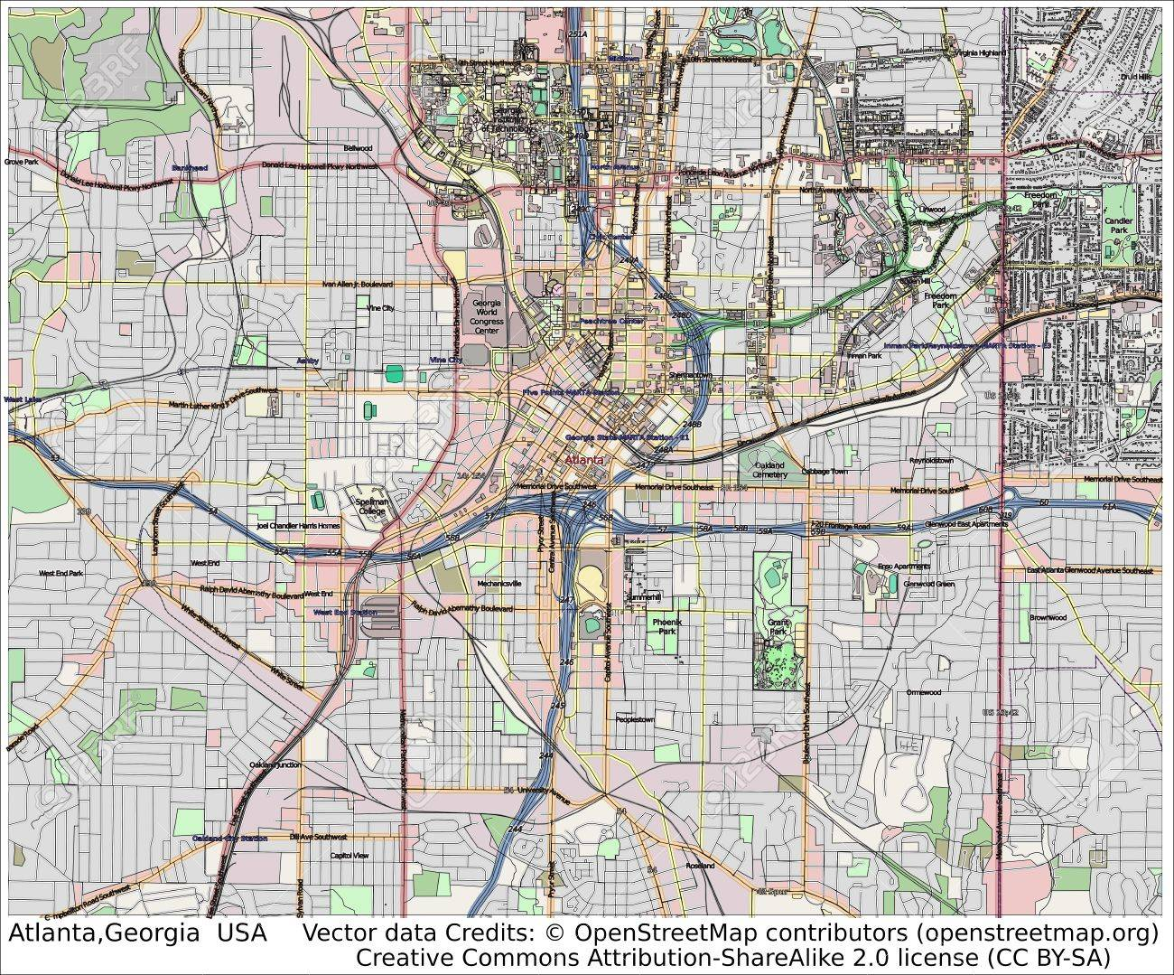 Atlanta Georgia USA City Map Aerial View Stock Photo Picture And - Georgia usa map