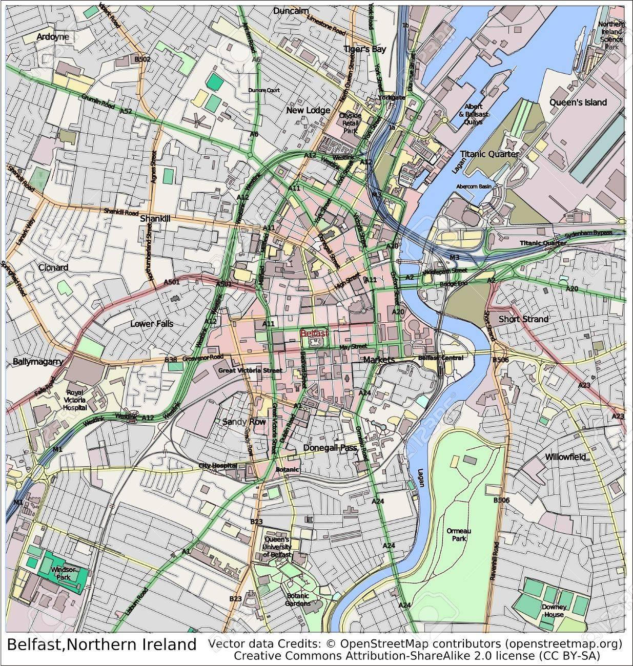 Irlanda Del Nord Cartina.Immagini Stock Belfast Irlanda Del Nord Mappa Della Citta Di Vista Aerea Image 37285406