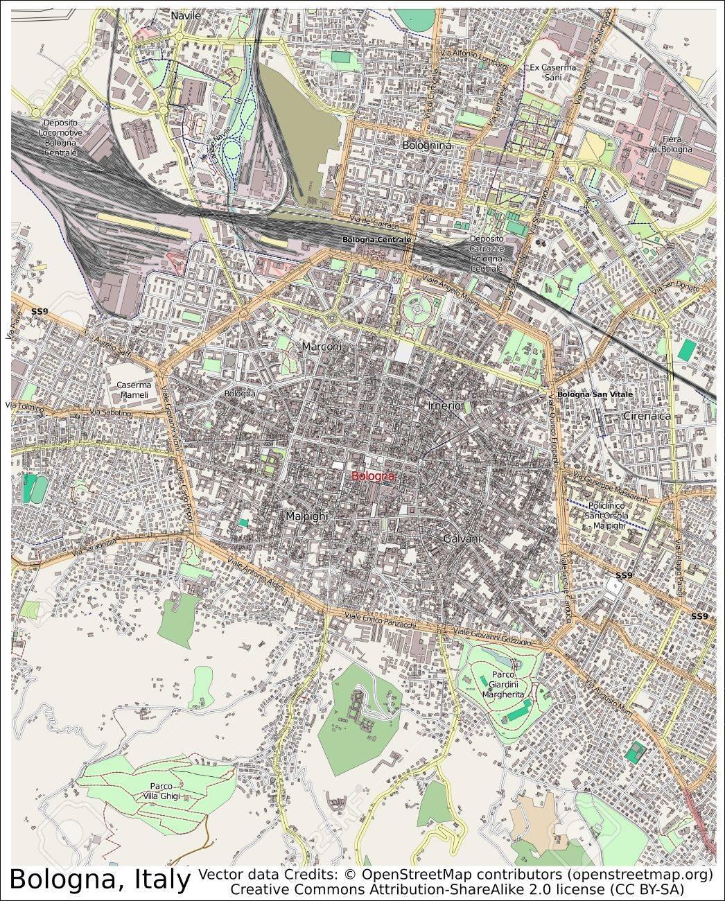 Bolonia Italia Mapa De La Ciudad Vista Aerea Fotos Retratos