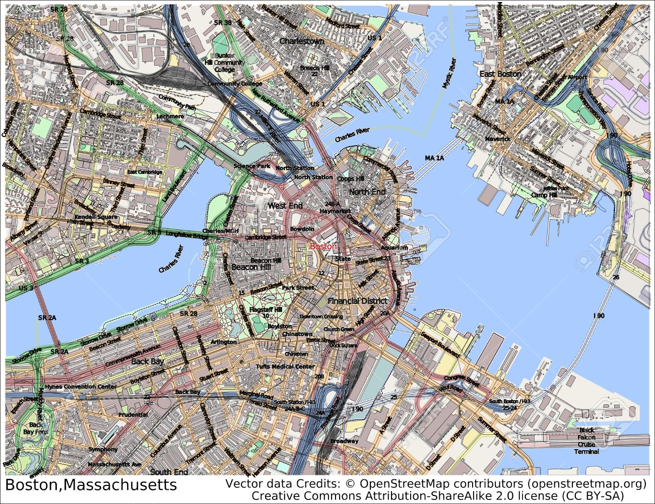 Mapa de boston ciudad