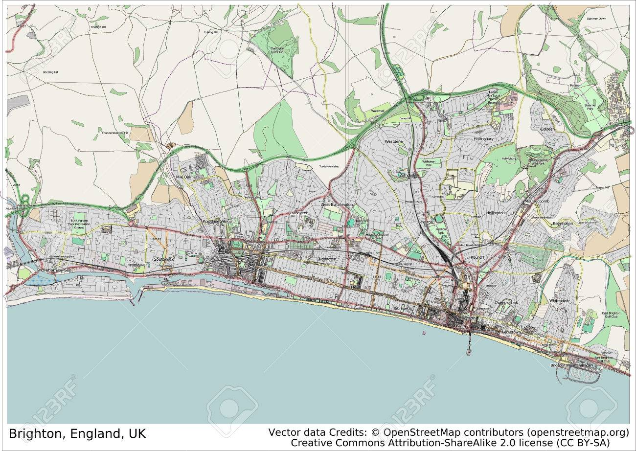 Brighton England Uk City Map Aerial View Stock Photo Picture And