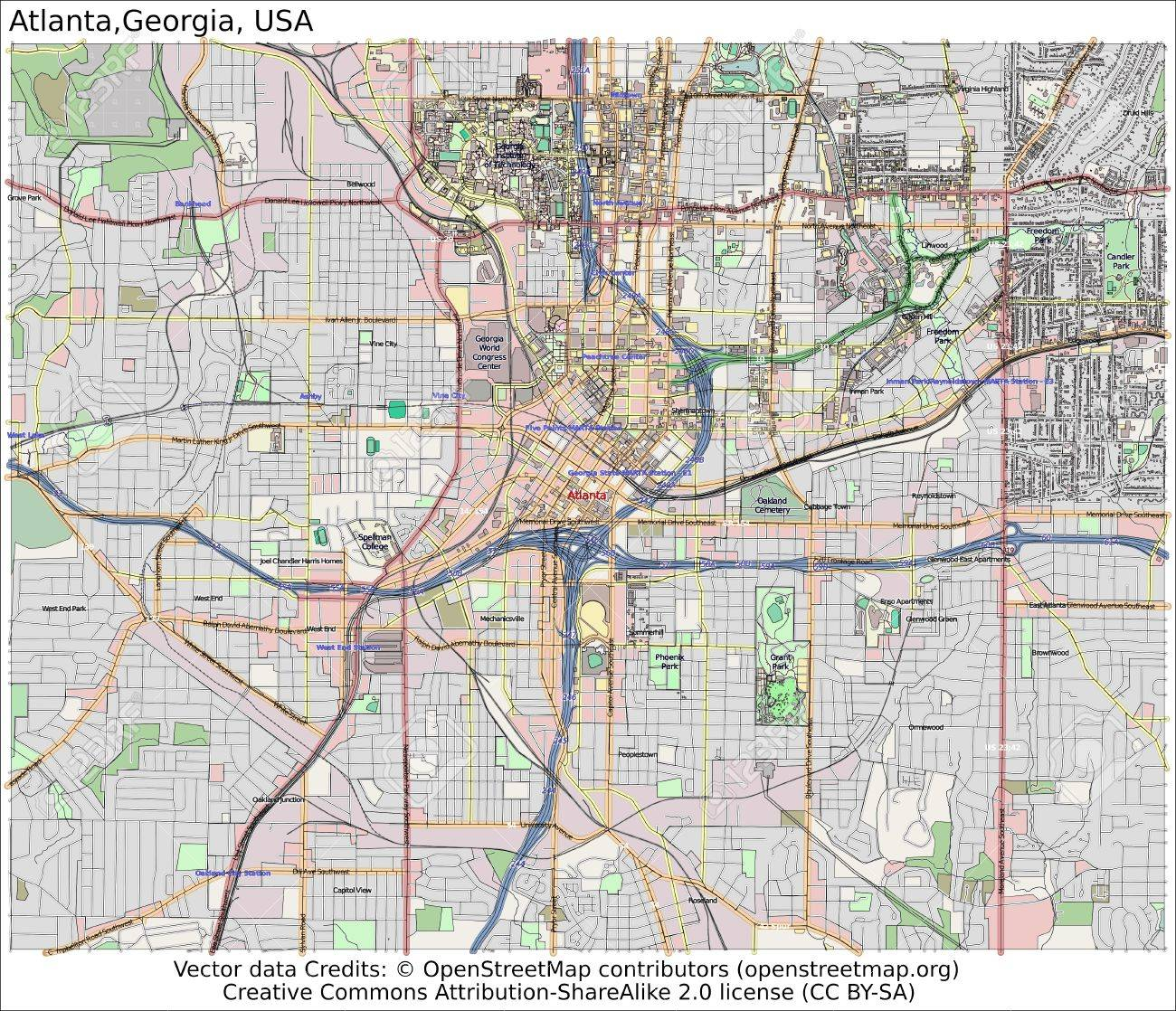 Map Of Georgia Usa With Cities.Atlanta Georgia Usa City Map Aerial View