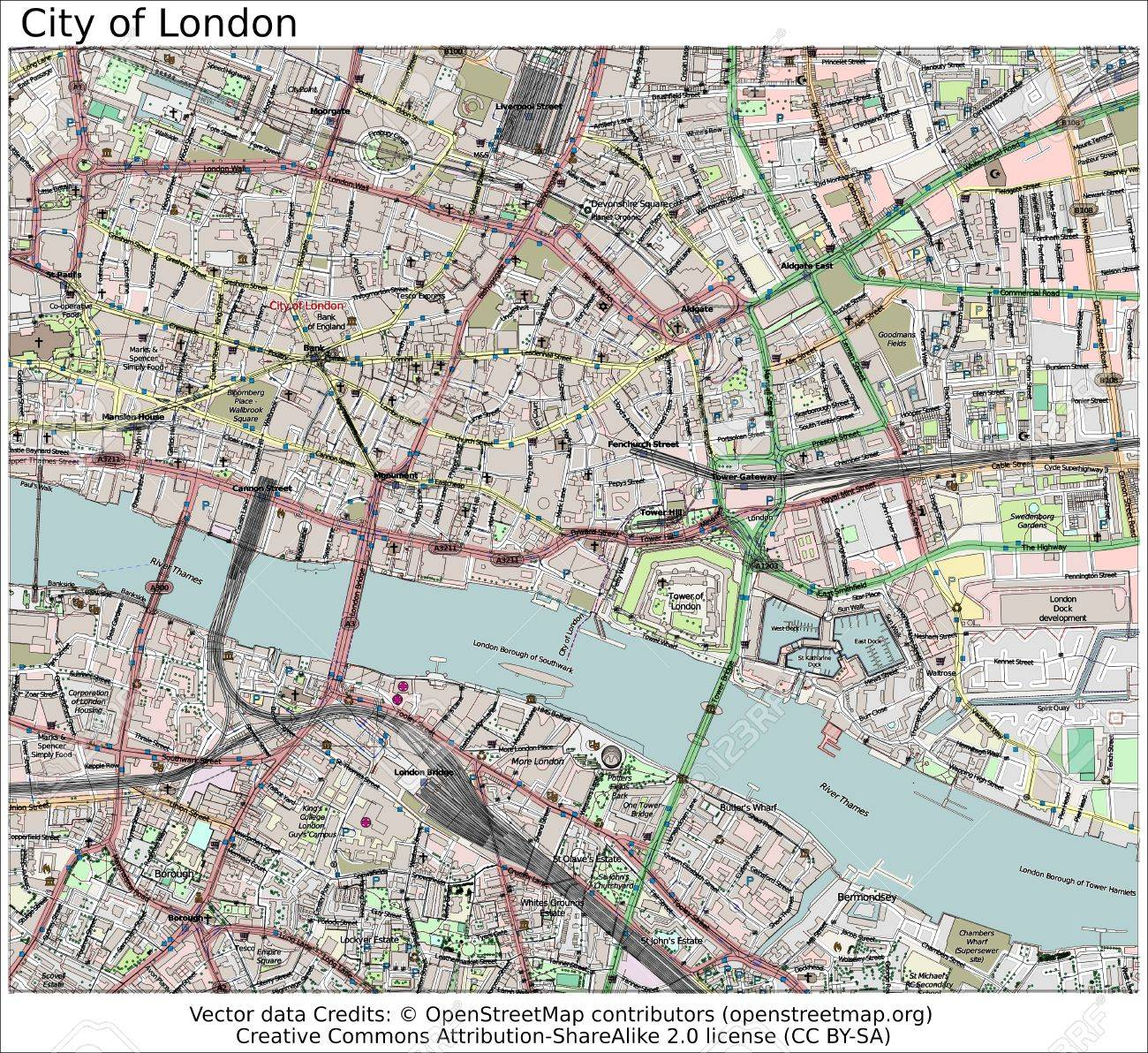 London And Surrounding Areas Map.City Of London Area Map Aerial View