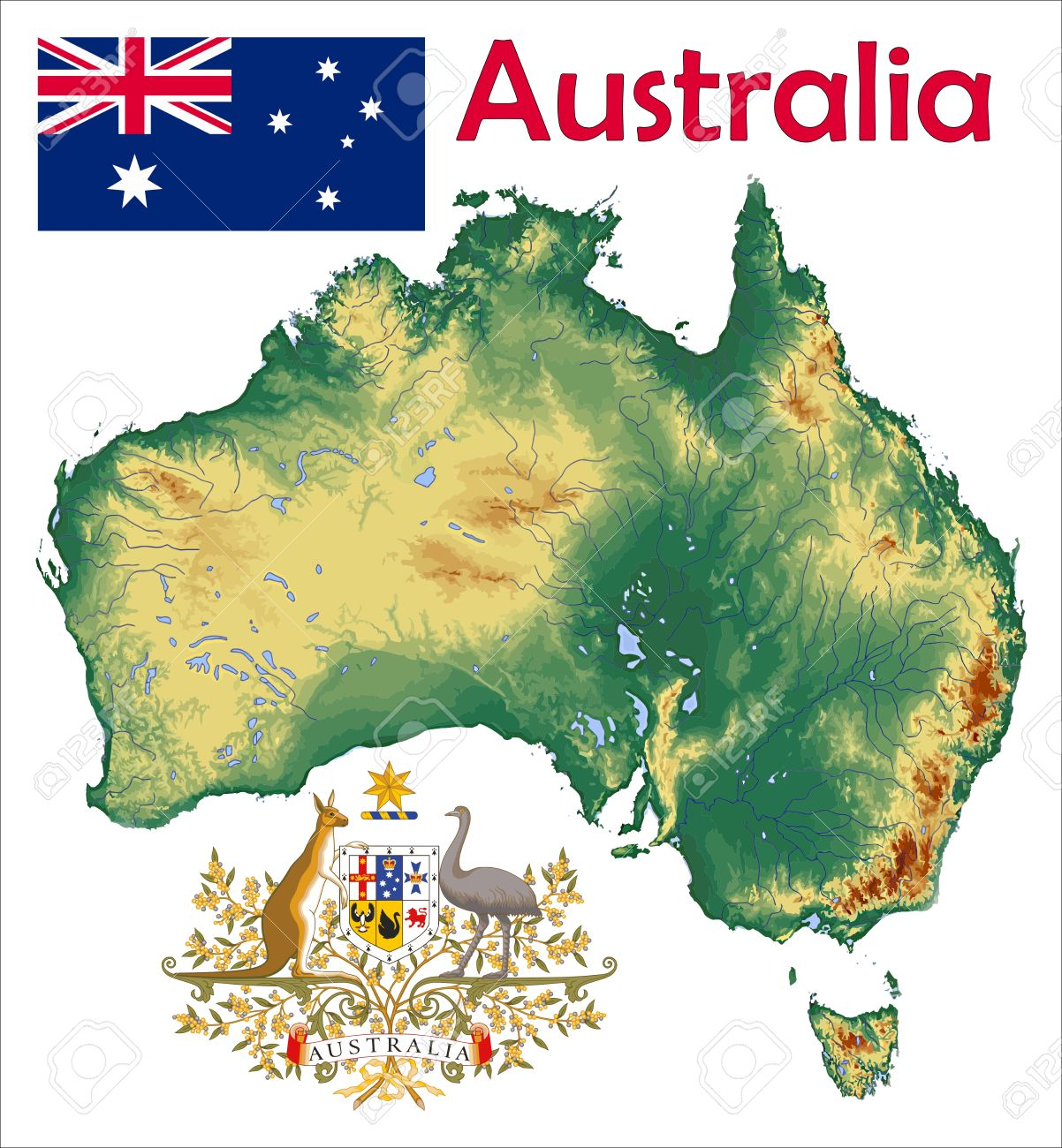 Australia Map Flag Coat Royalty Free Cliparts, Vectors, And Stock ...