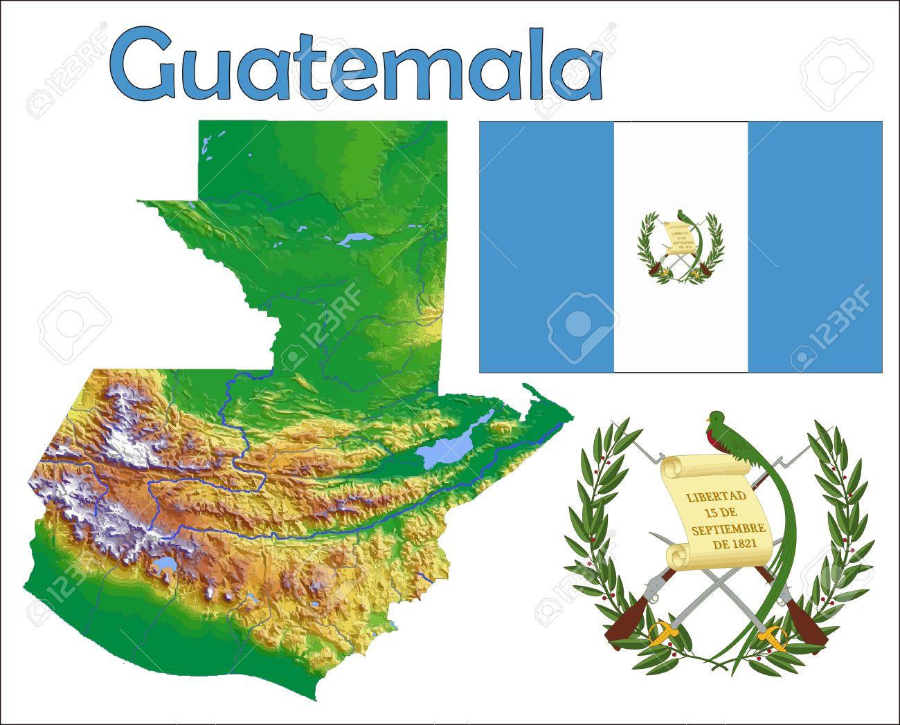 Guatemala Map Flag Coat Royalty Free Cliparts Vectors And Stock
