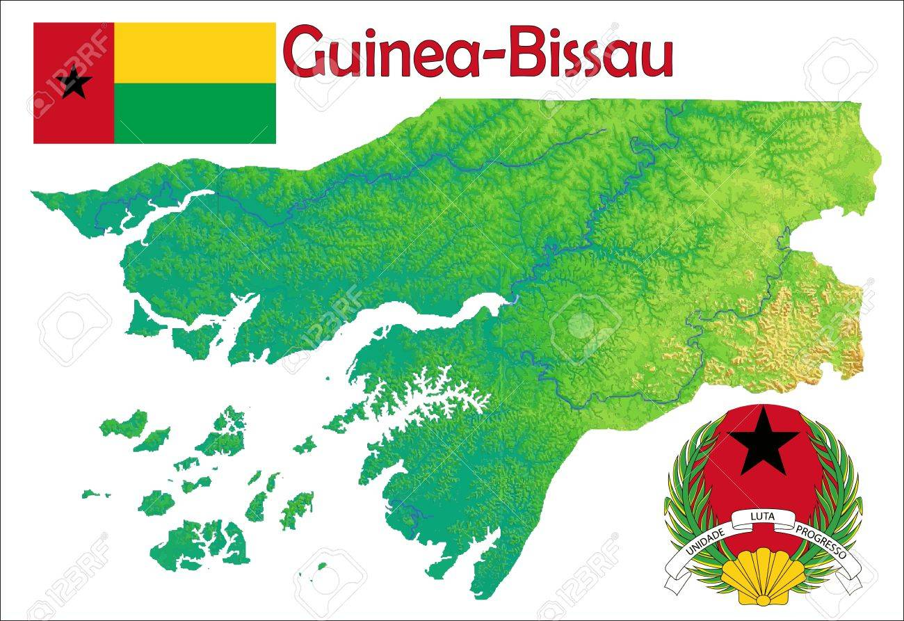 Guinea Bissau Map Flag Coat Royalty Free Cliparts Vectors And