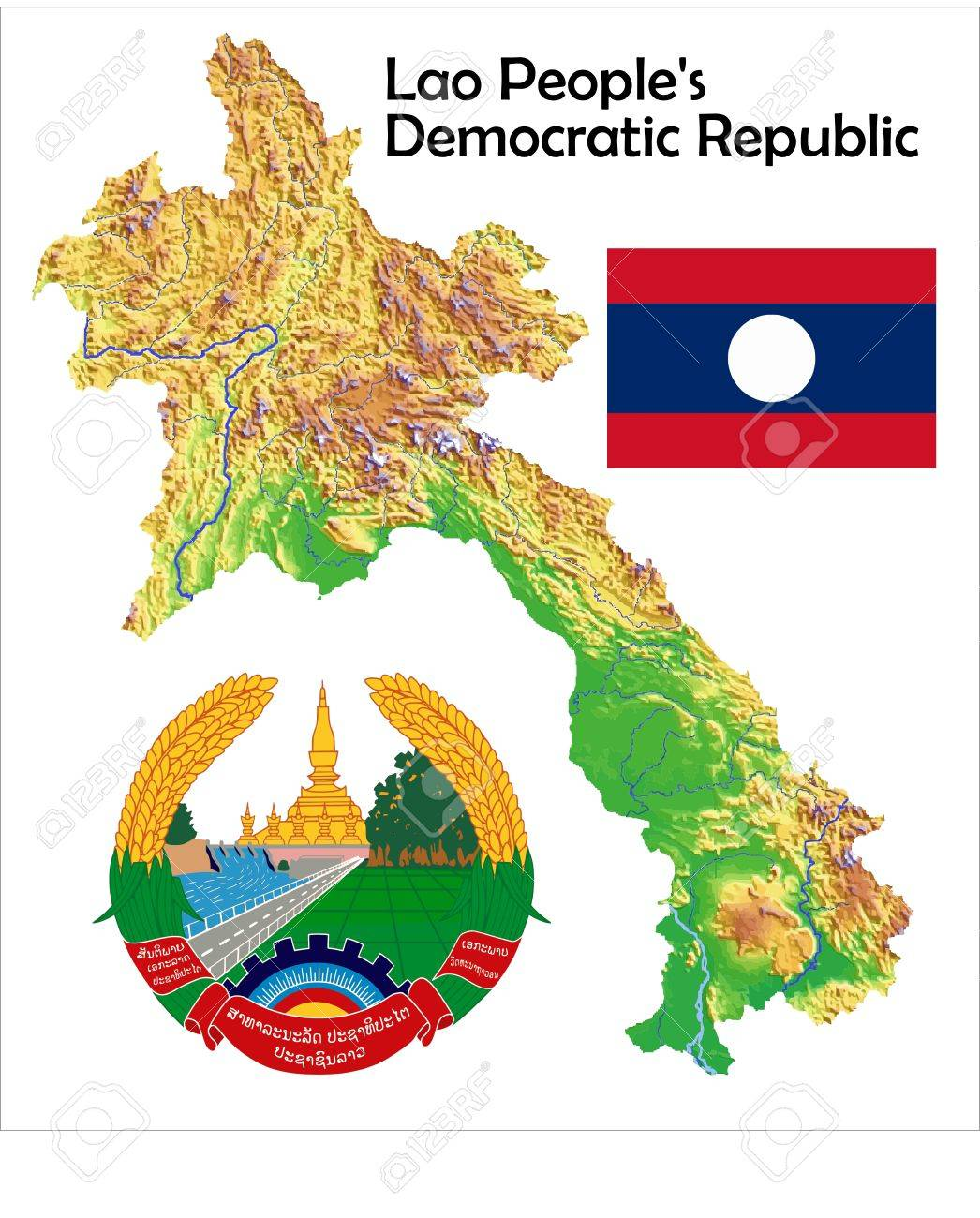 Laos Map Flag Coat Royalty Free Cliparts Vectors And Stock