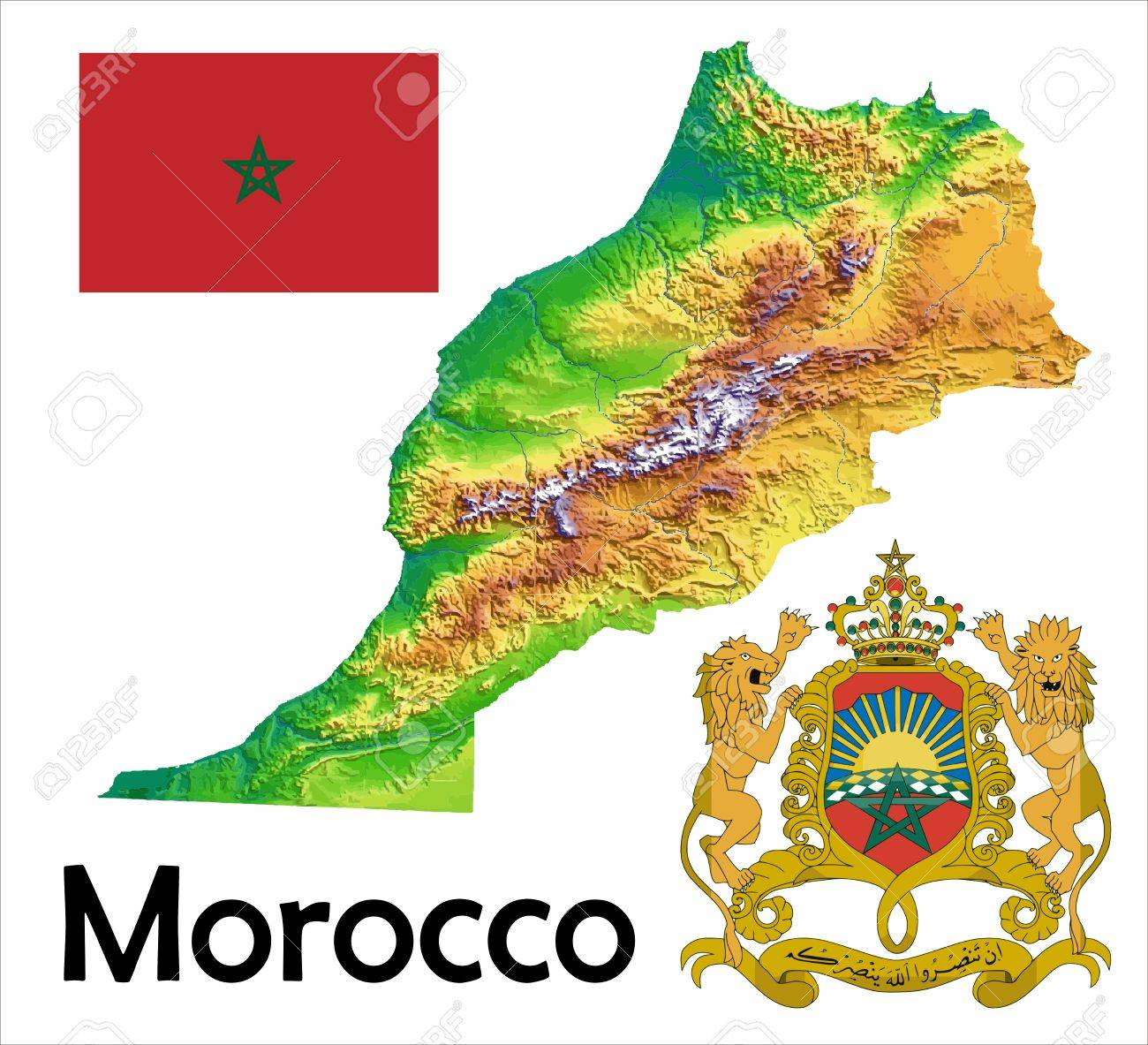 Morocco Map Flag Coat Royalty Free Cliparts Vectors And Stock