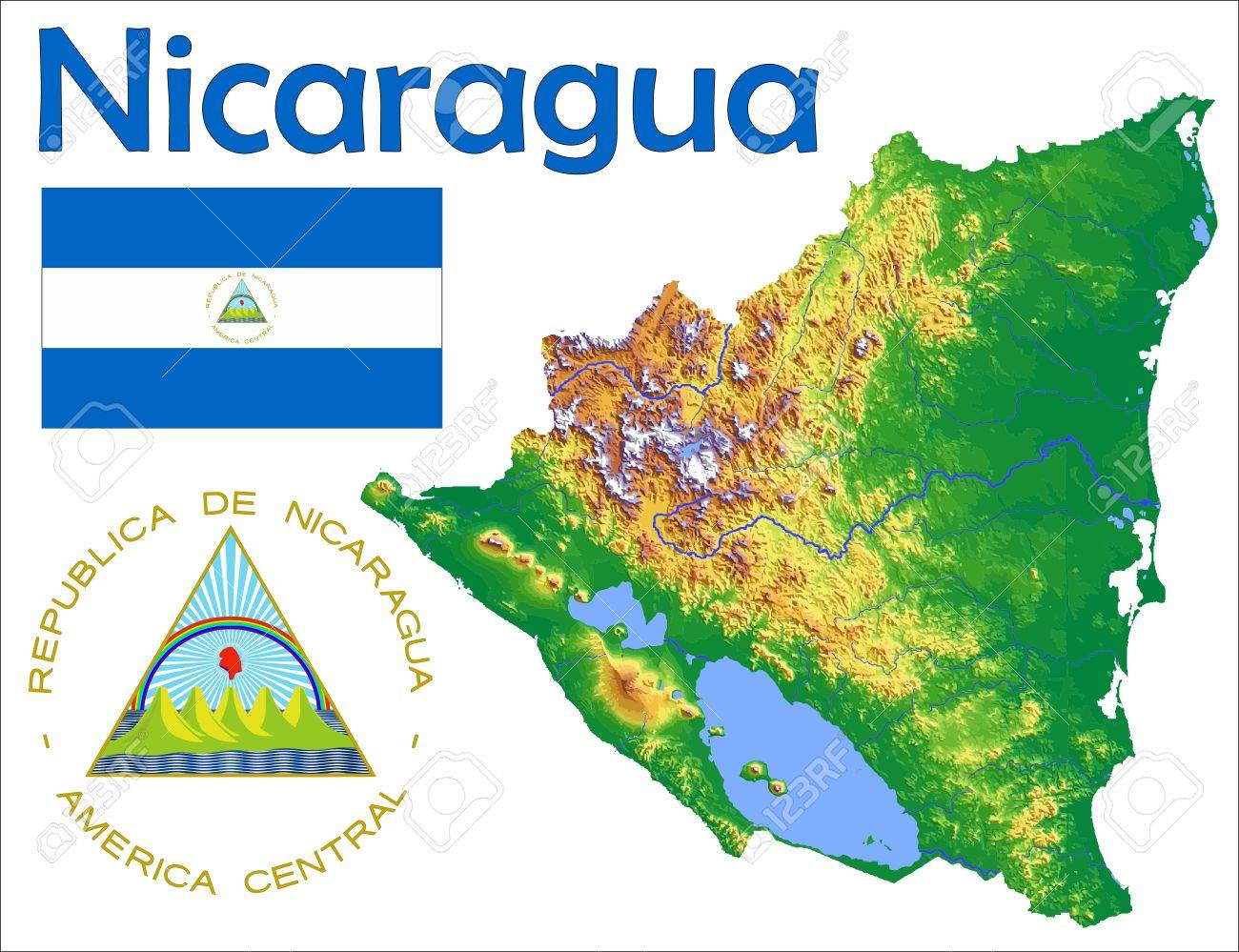 Nicaragua map flag coat royalty free cliparts vectors and stock nicaragua map flag coat stock vector 37748290 gumiabroncs Gallery