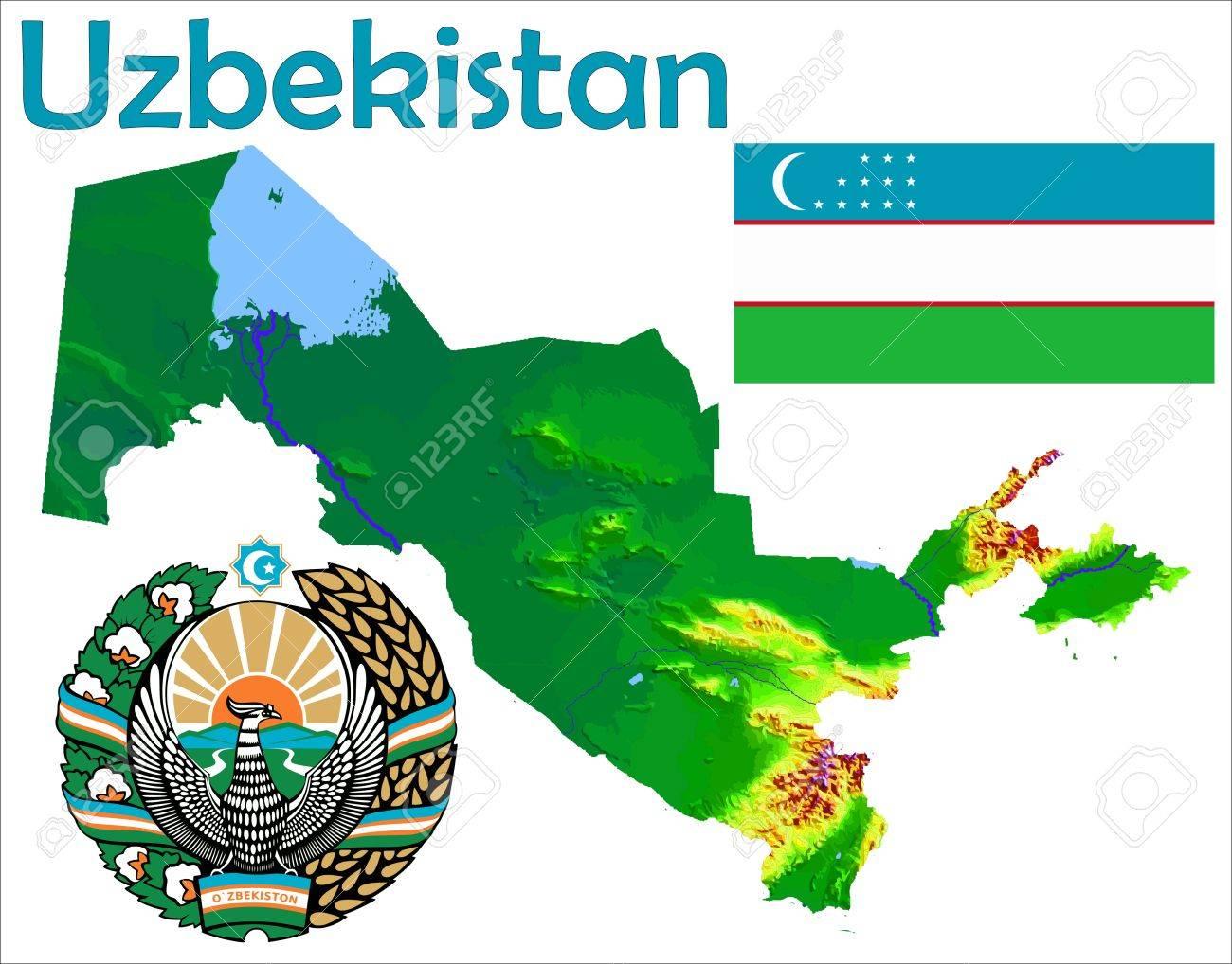 Uzbekistan Map Flag Coat Royalty Free Cliparts Vectors And Stock