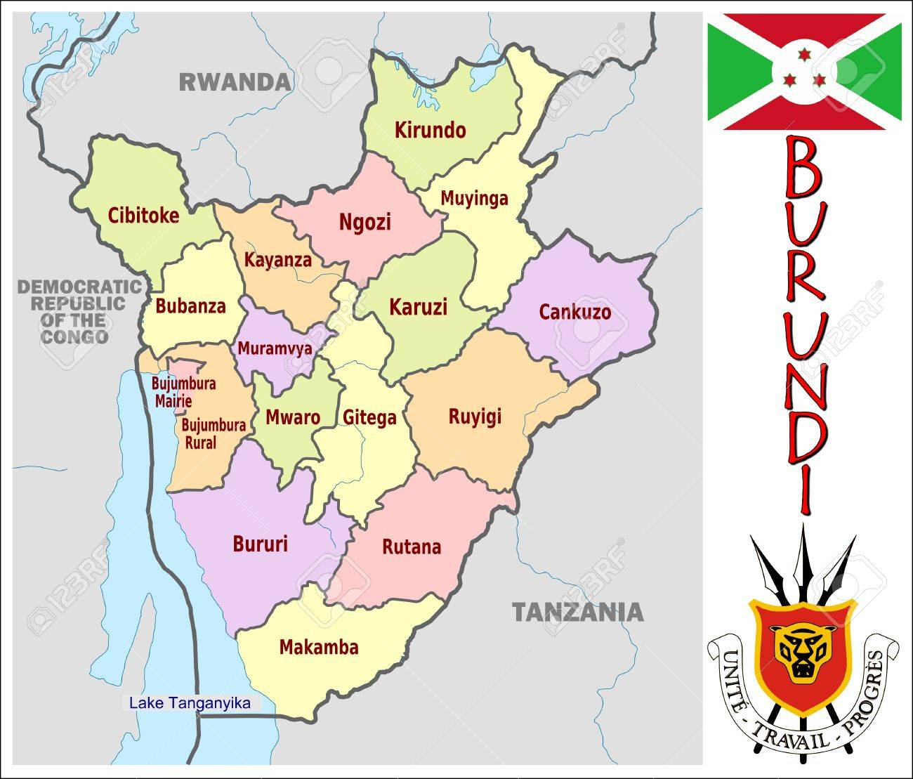 Burundi Administrative Divisions Royalty Free Cliparts Vectors And