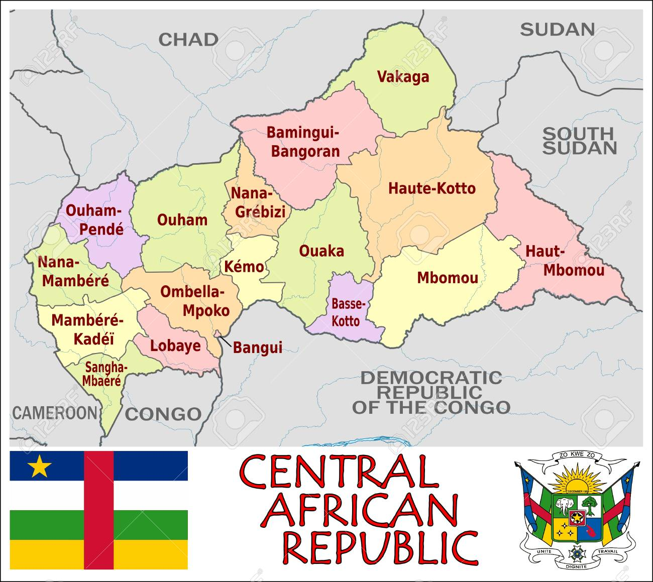 Central African Republic Administrative Divisions Royalty Free