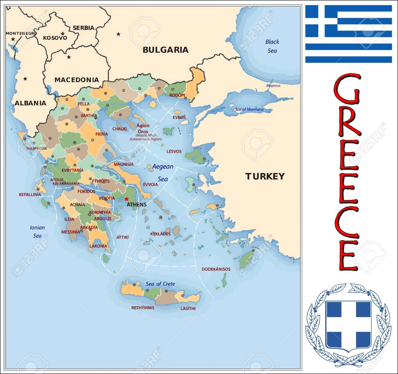 Greece Administrative Divisions Royalty Free Cliparts Vectors And