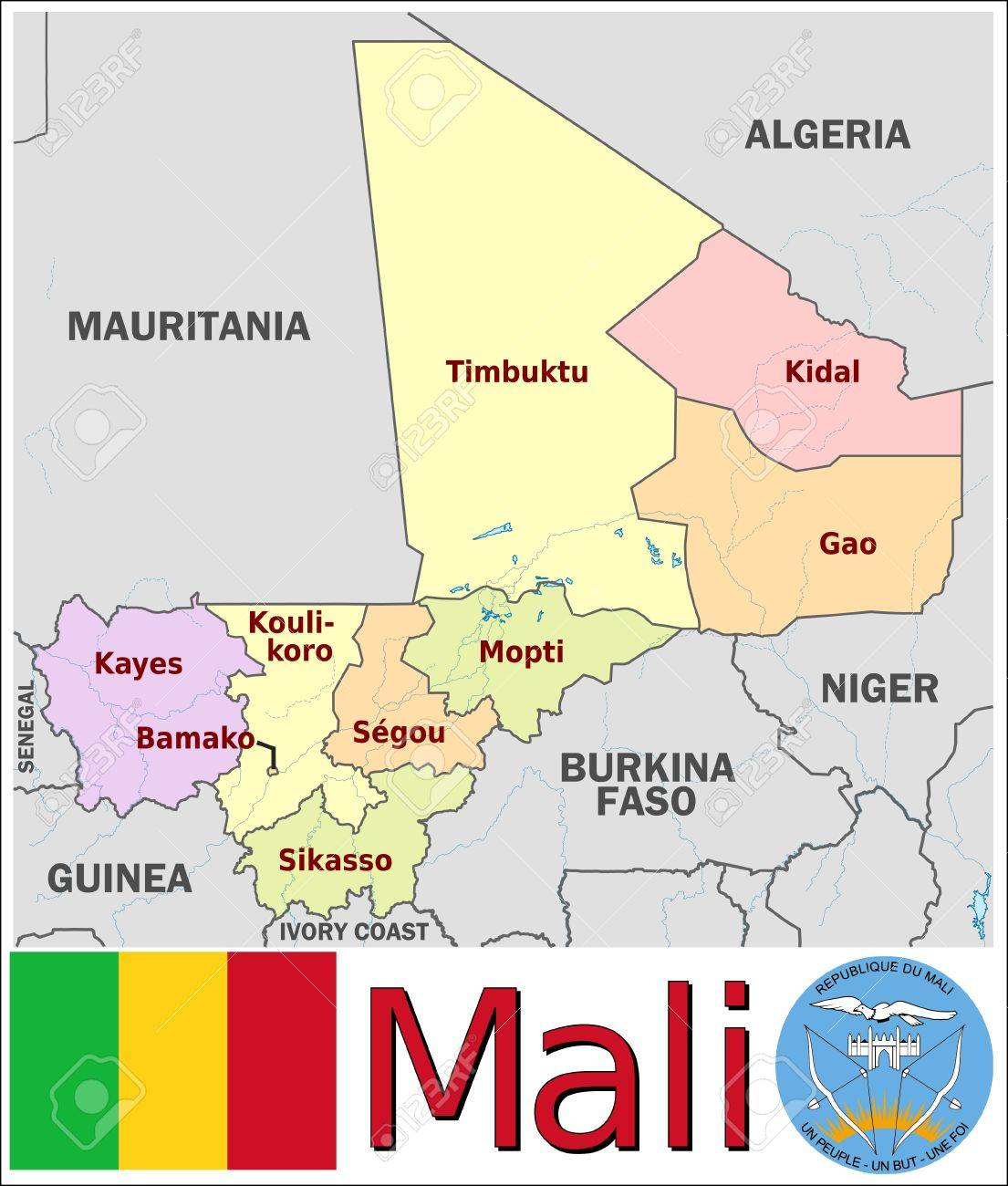 Mali Administrative Divisions Royalty Free Cliparts Vectors And