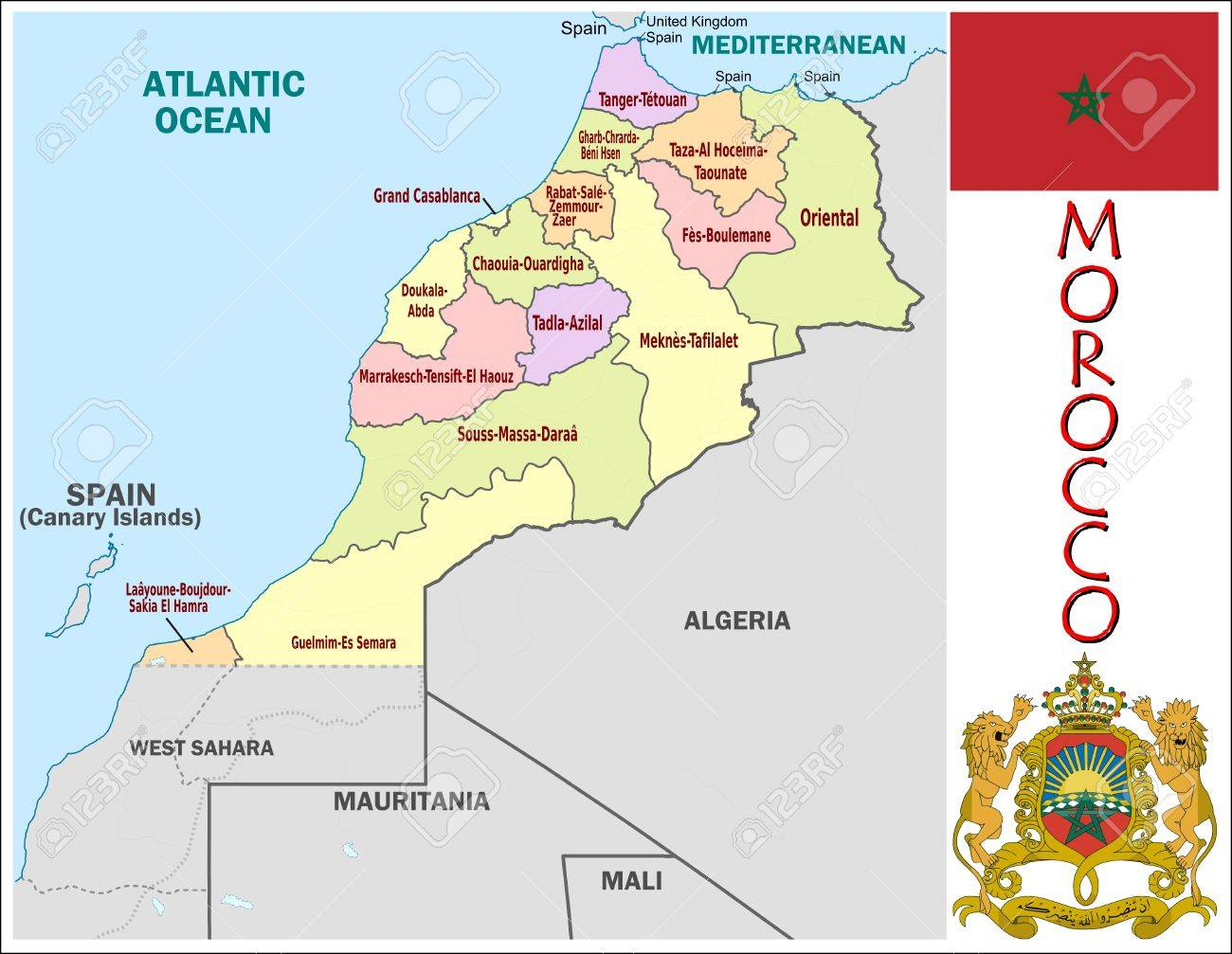 Morocco Administrative Divisions Royalty Free Cliparts Vectors And