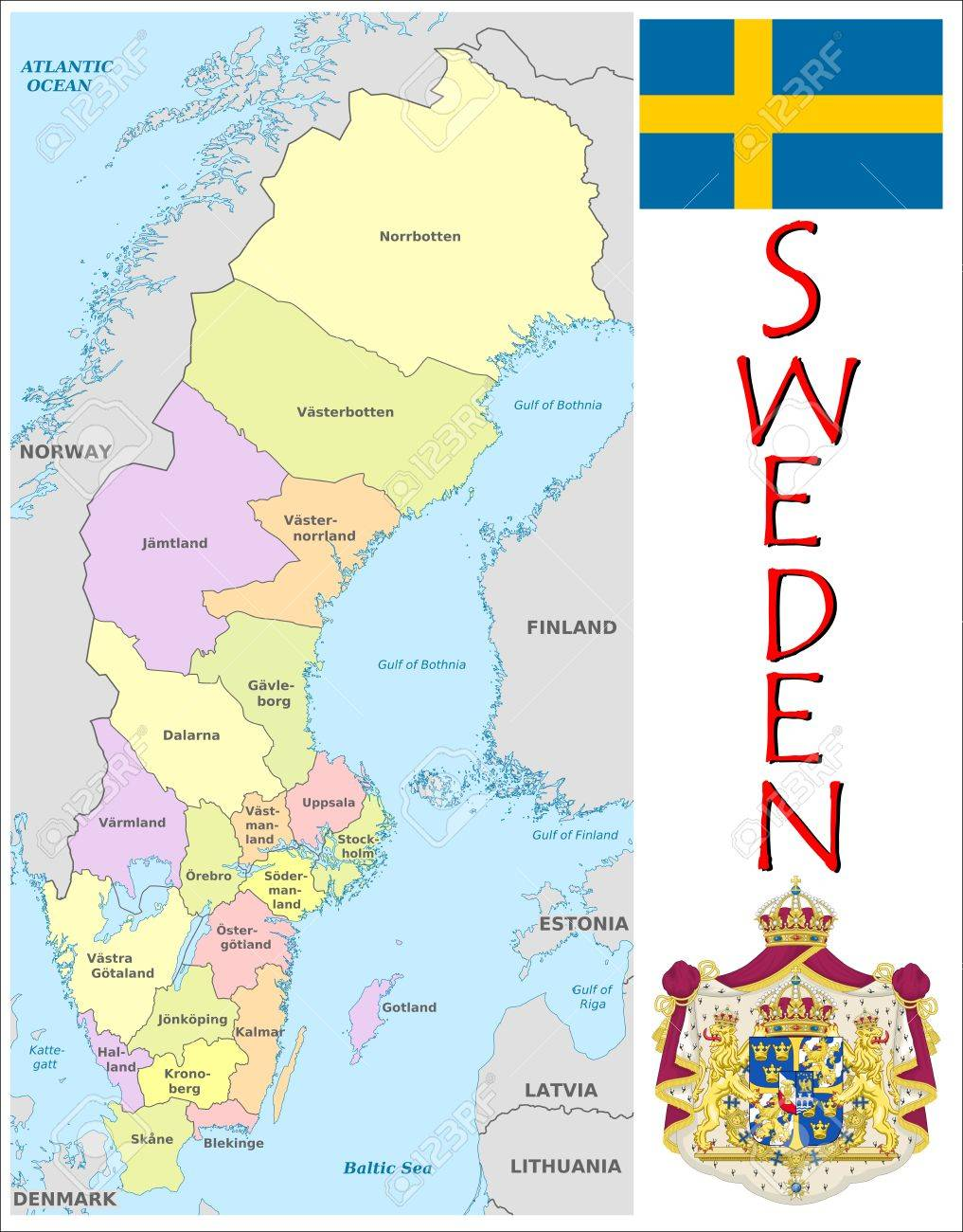 Sweden Administrative Divisions Royalty Free Cliparts Vectors And
