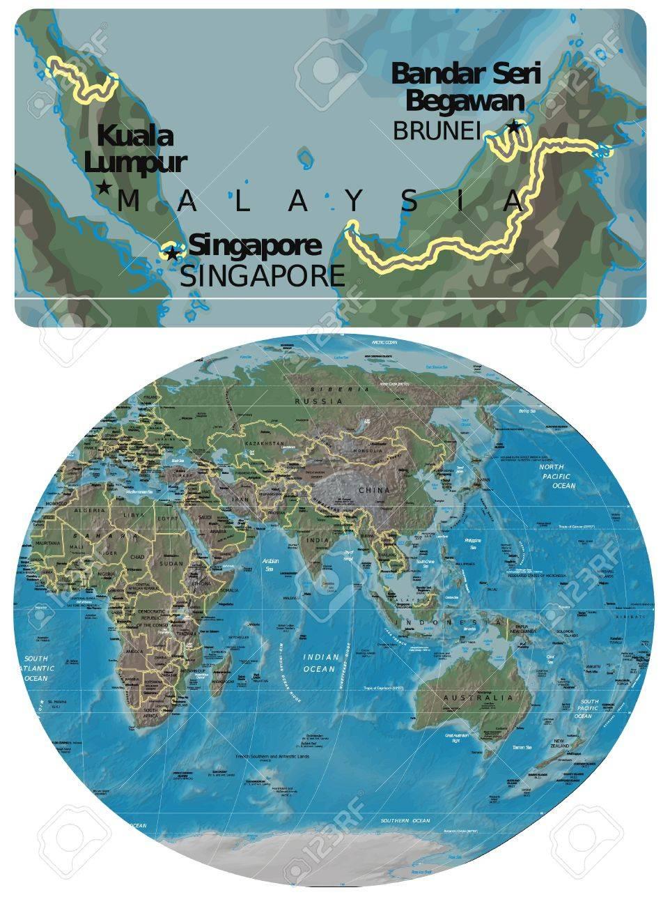 Carte Asie Malaisie.Carte Malaisie Et Asie Oceanie Clip Art Libres De Droits
