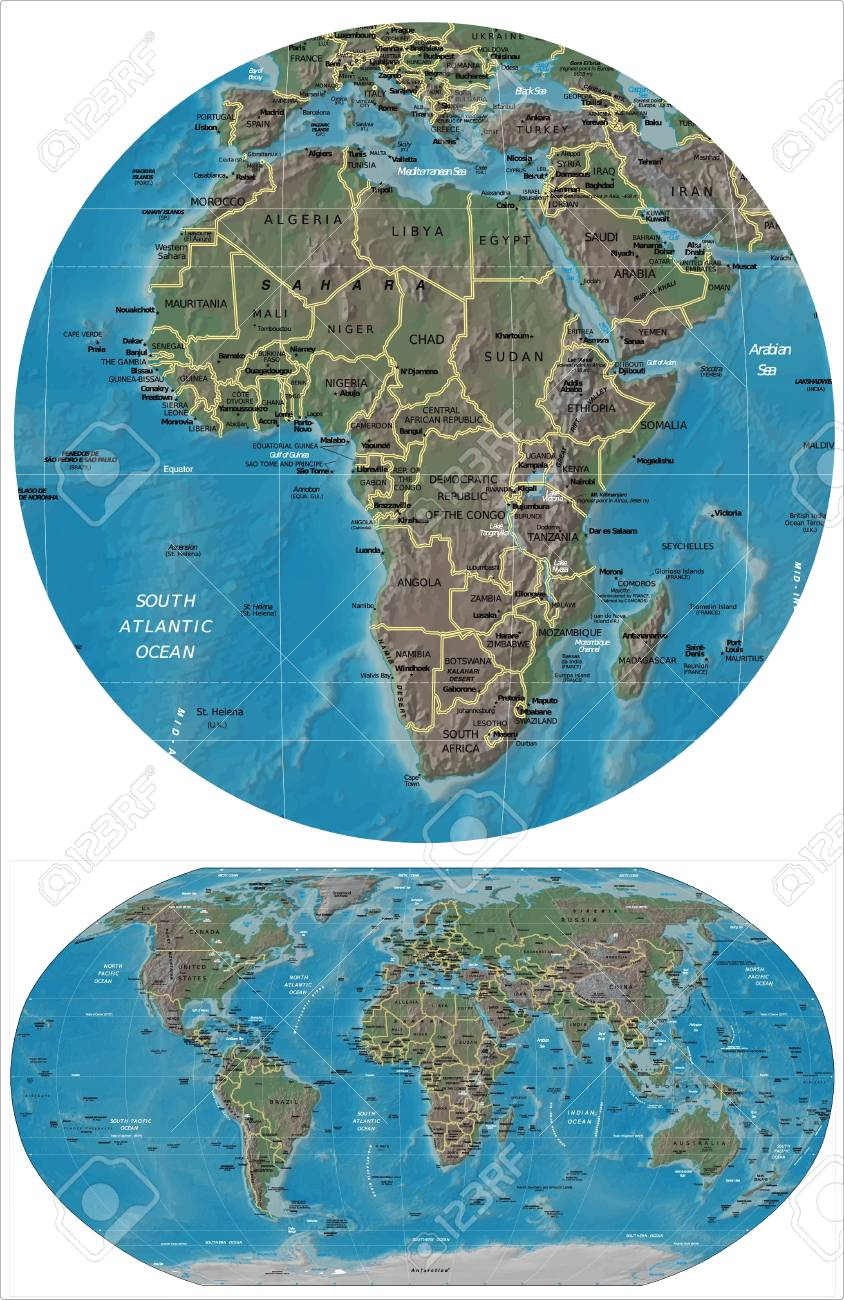 Africa and World map