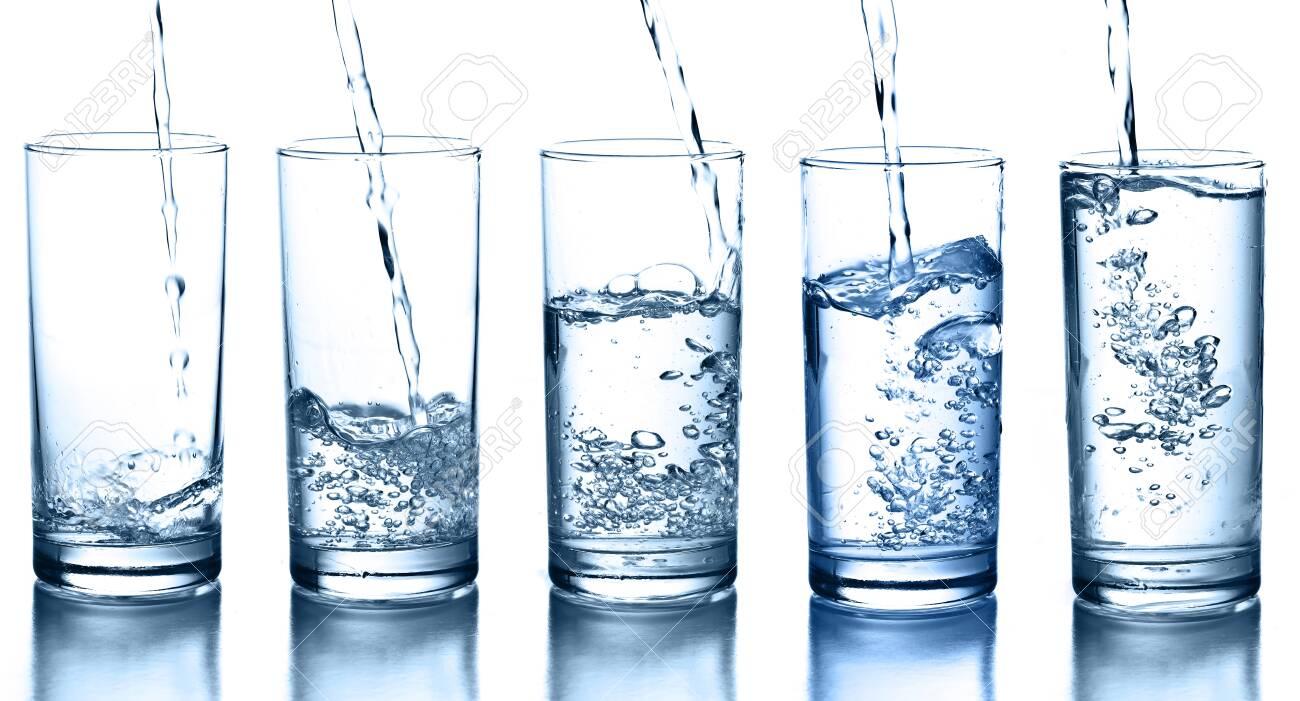 transparent glass of splash water - 146433658