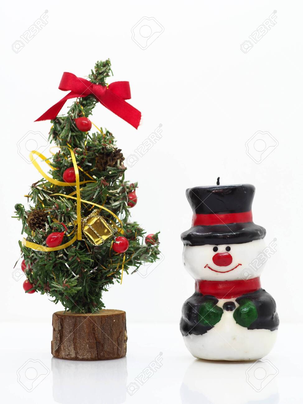 Christmas Composition Small Snowman By A Christmas Tree Stock Photo Picture And Royalty Free Image Image 131854079