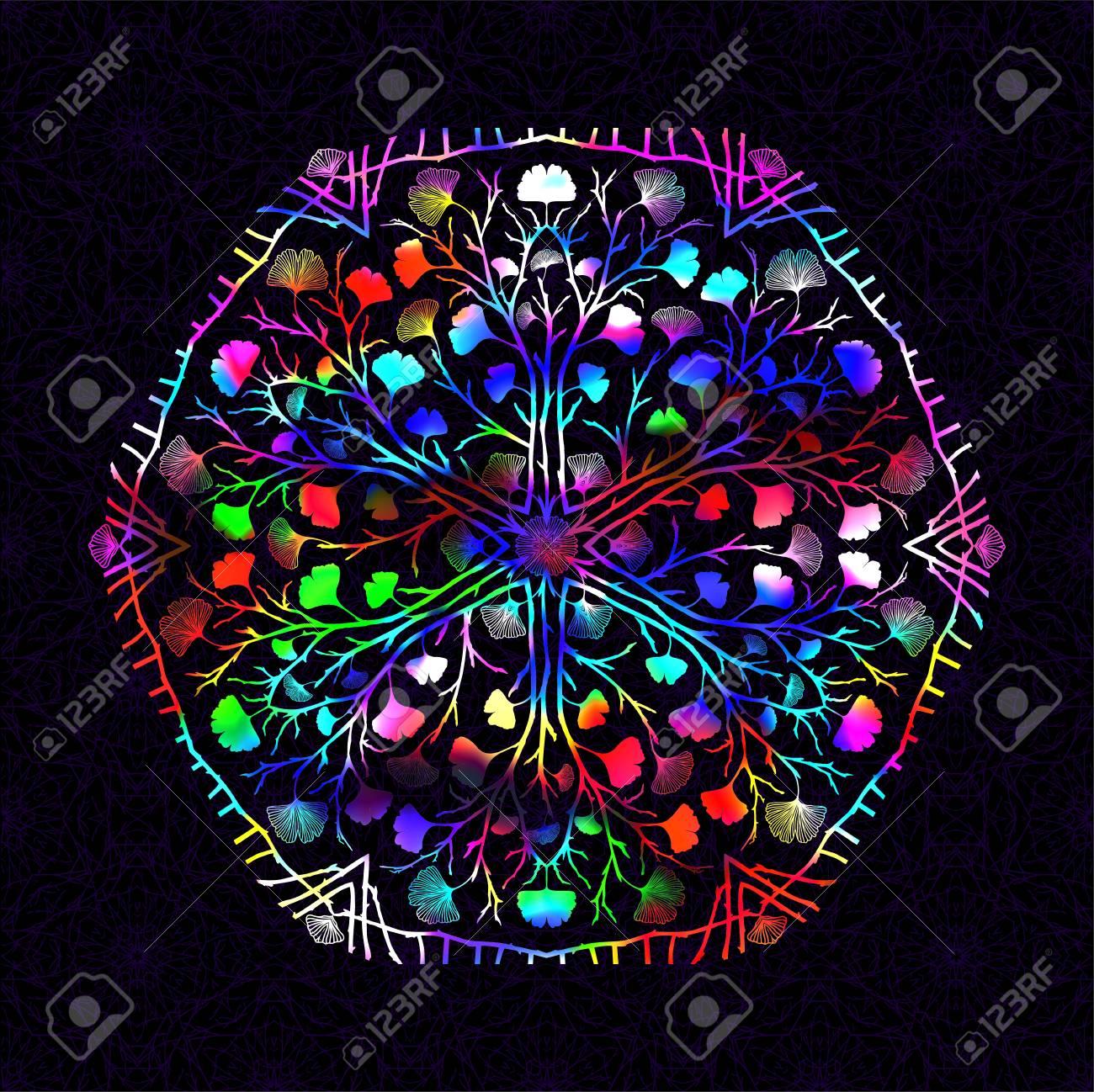 Round Gradient Mandala Vivid Bright Colorful Vibrant Glow ...