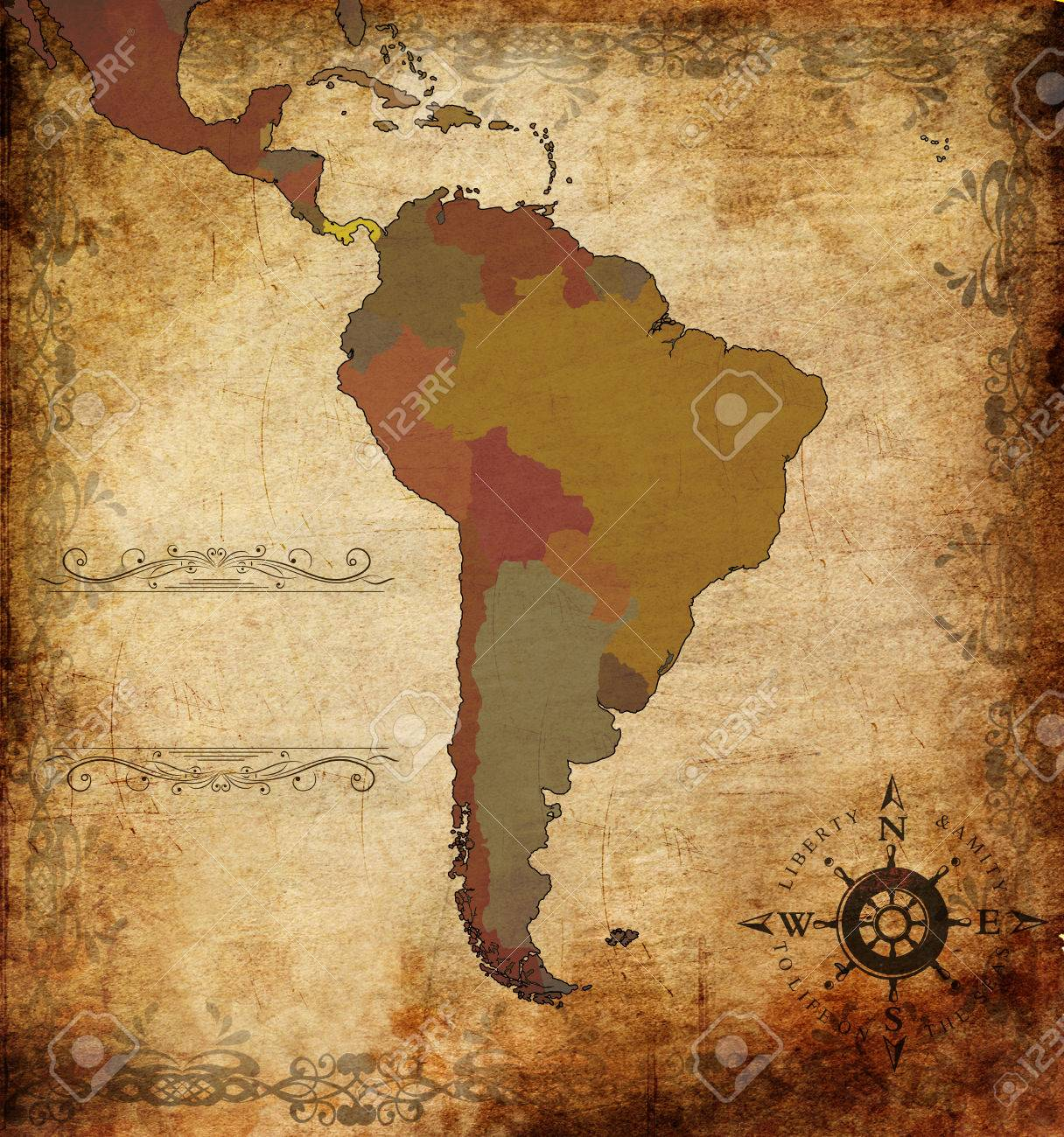 Illustration Of An Ancient Map Of South America Stock Photo Picture