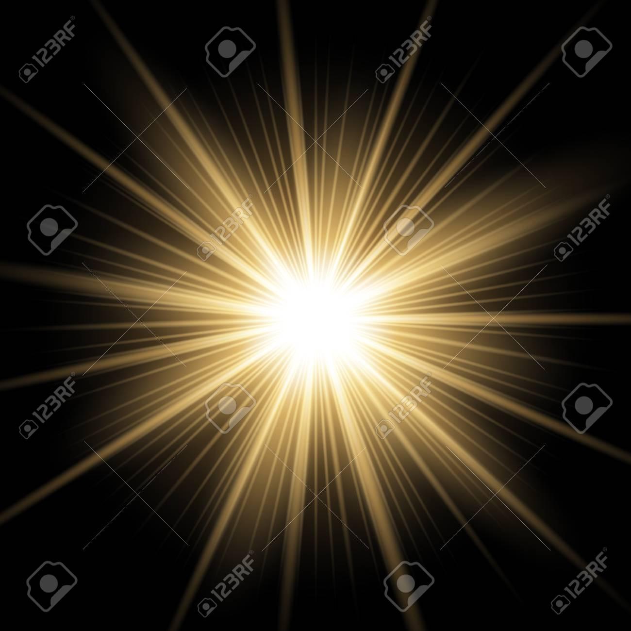 Sunlight with lens flare effect, shining star on black background, light effect, golden color - 94153263