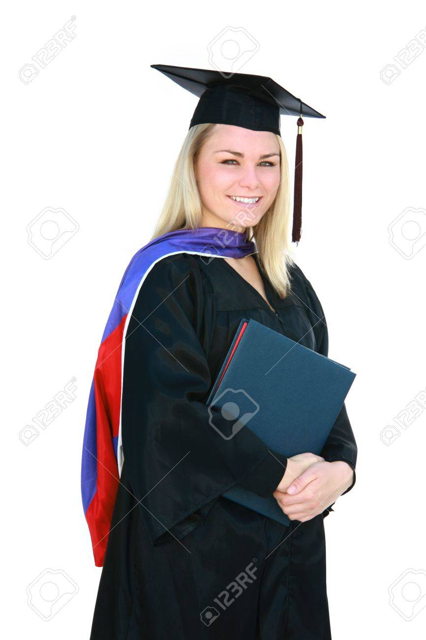 Pretty Blonde Master\'s Degree Graduate In Cap And Gown. Stock Photo ...