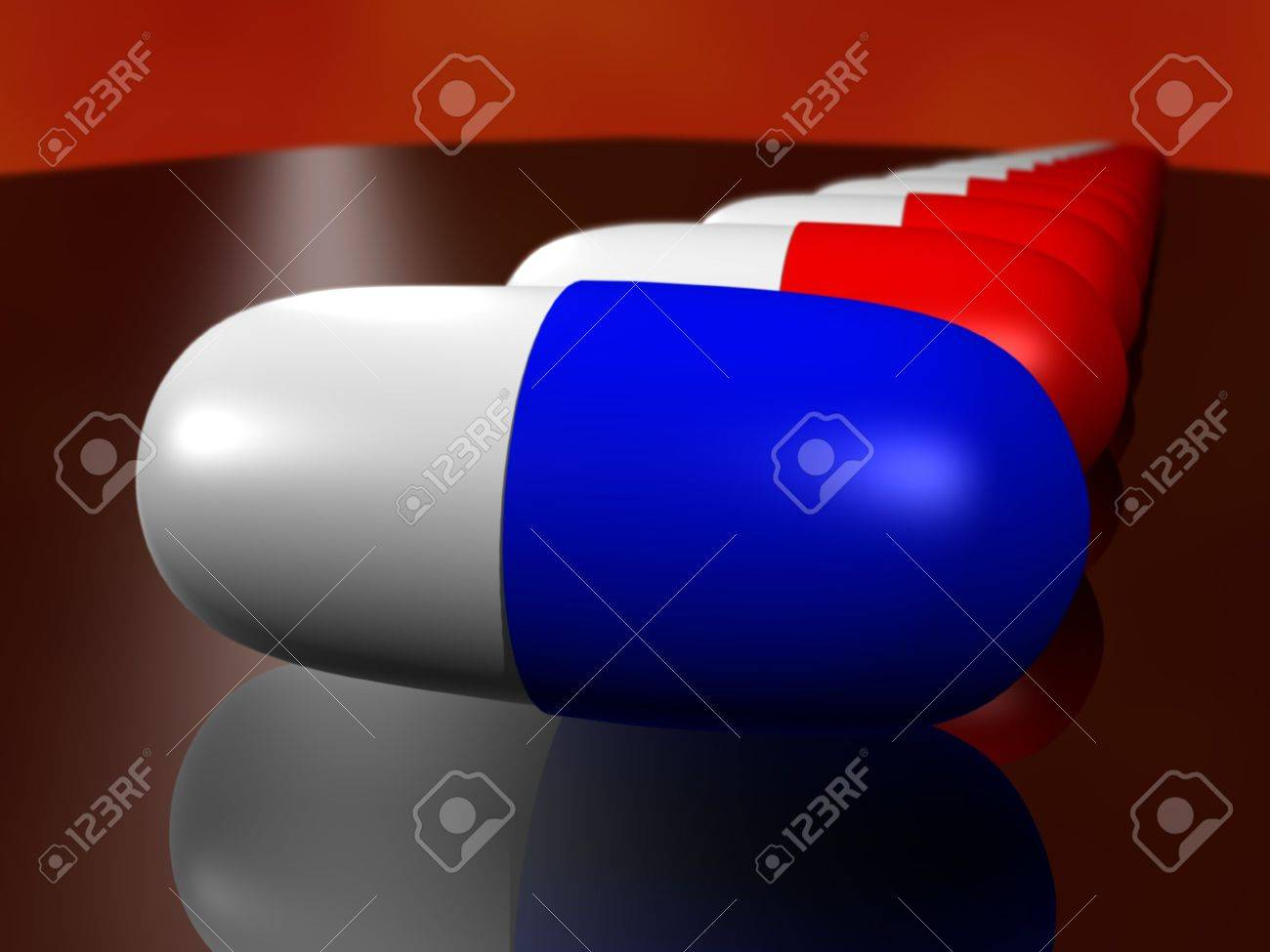 3D cartoon of a drug capsule with depth of field Stock Photo - 4530328