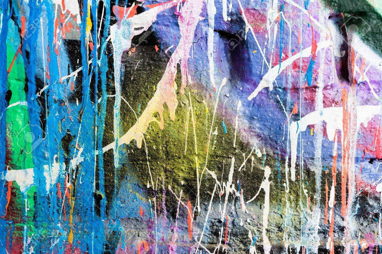 Graffiti wall painting - Dripping Paint Graffiti Wall Stock Photo 41320264