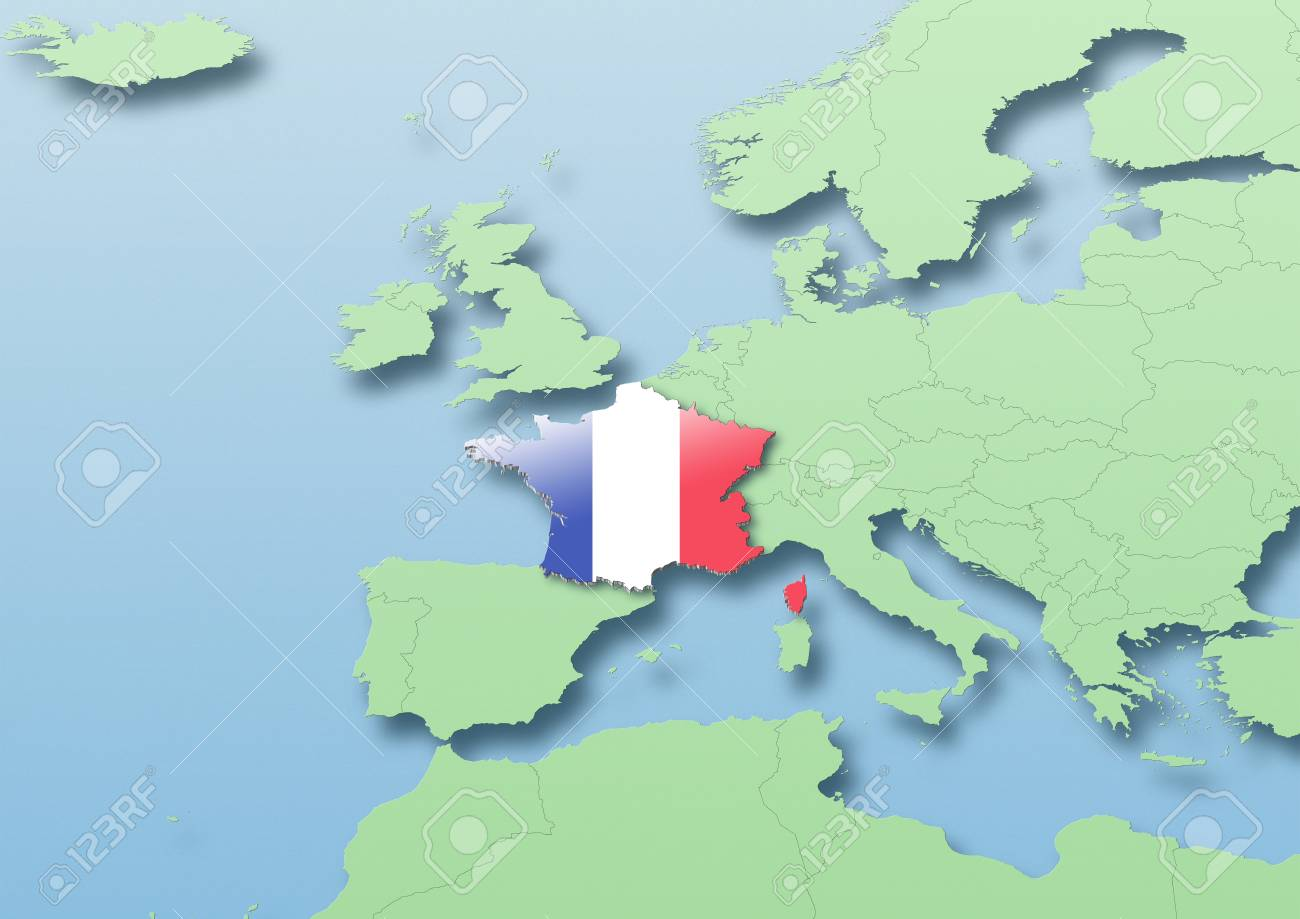 Map Of Western France.France Flag Map Western Europe Green Blue Political Stock Photo