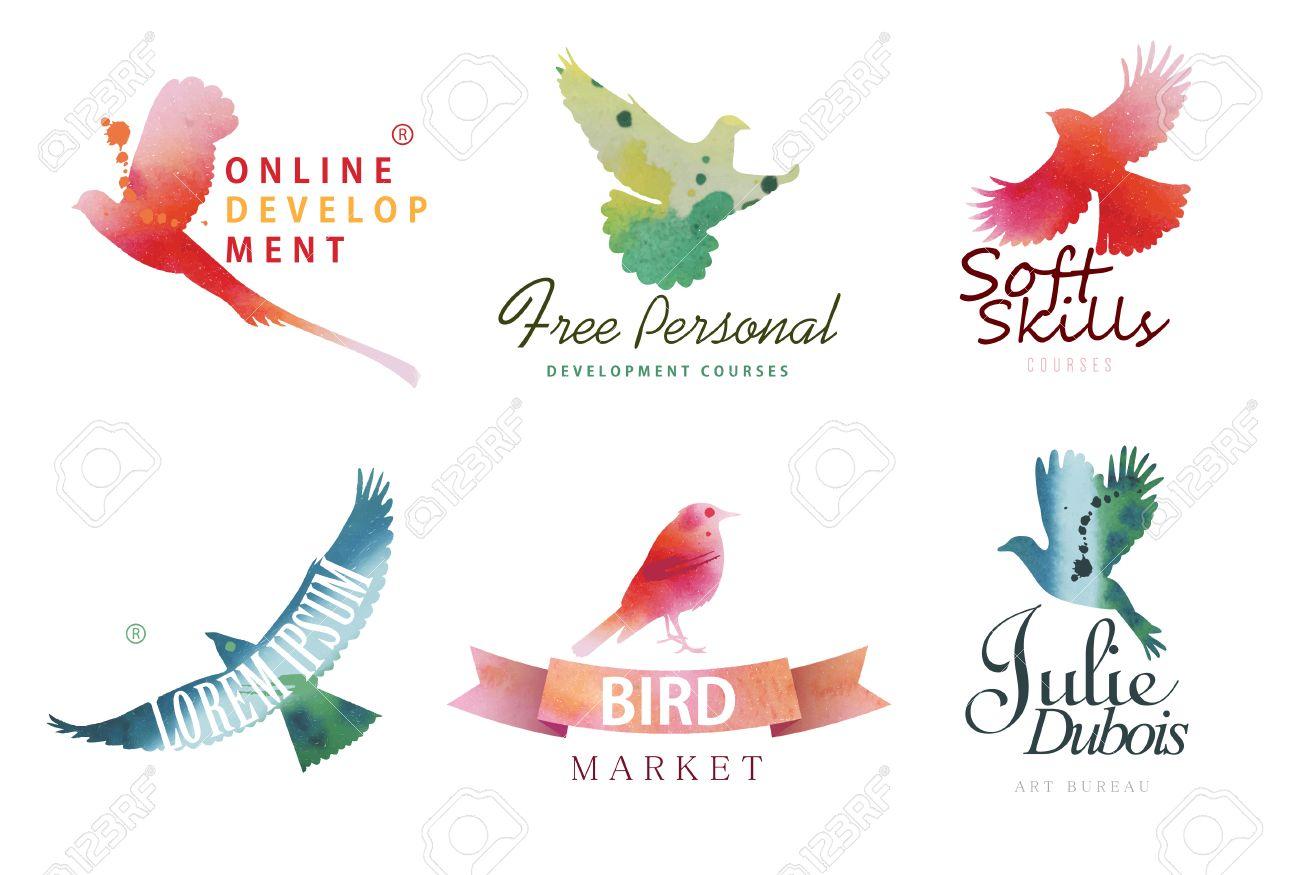 Watercolor Icon Templates. Colorful Birds Silhouettes In Watercolor ...